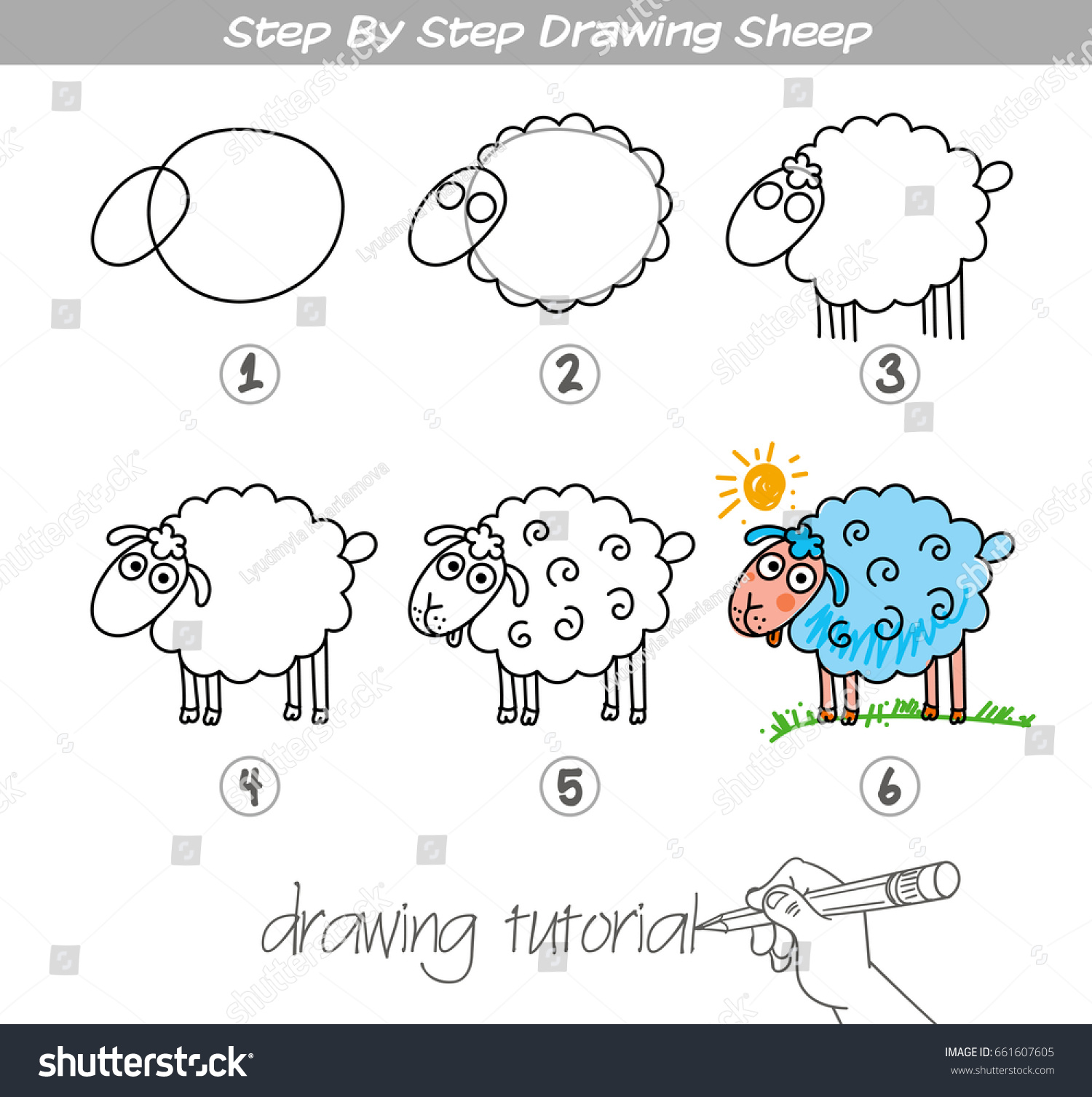 drawing tutorial step by step drawing stock vector royalty free