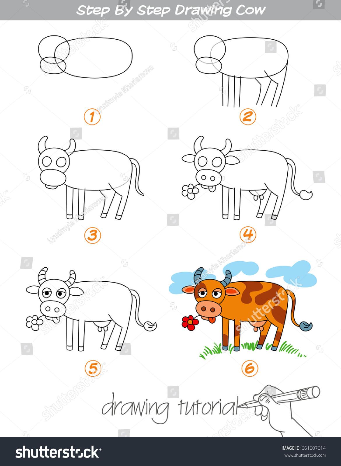 Drawing Tutorial Step By Step Drawing Stock Vektorgrafik Lizenzfrei