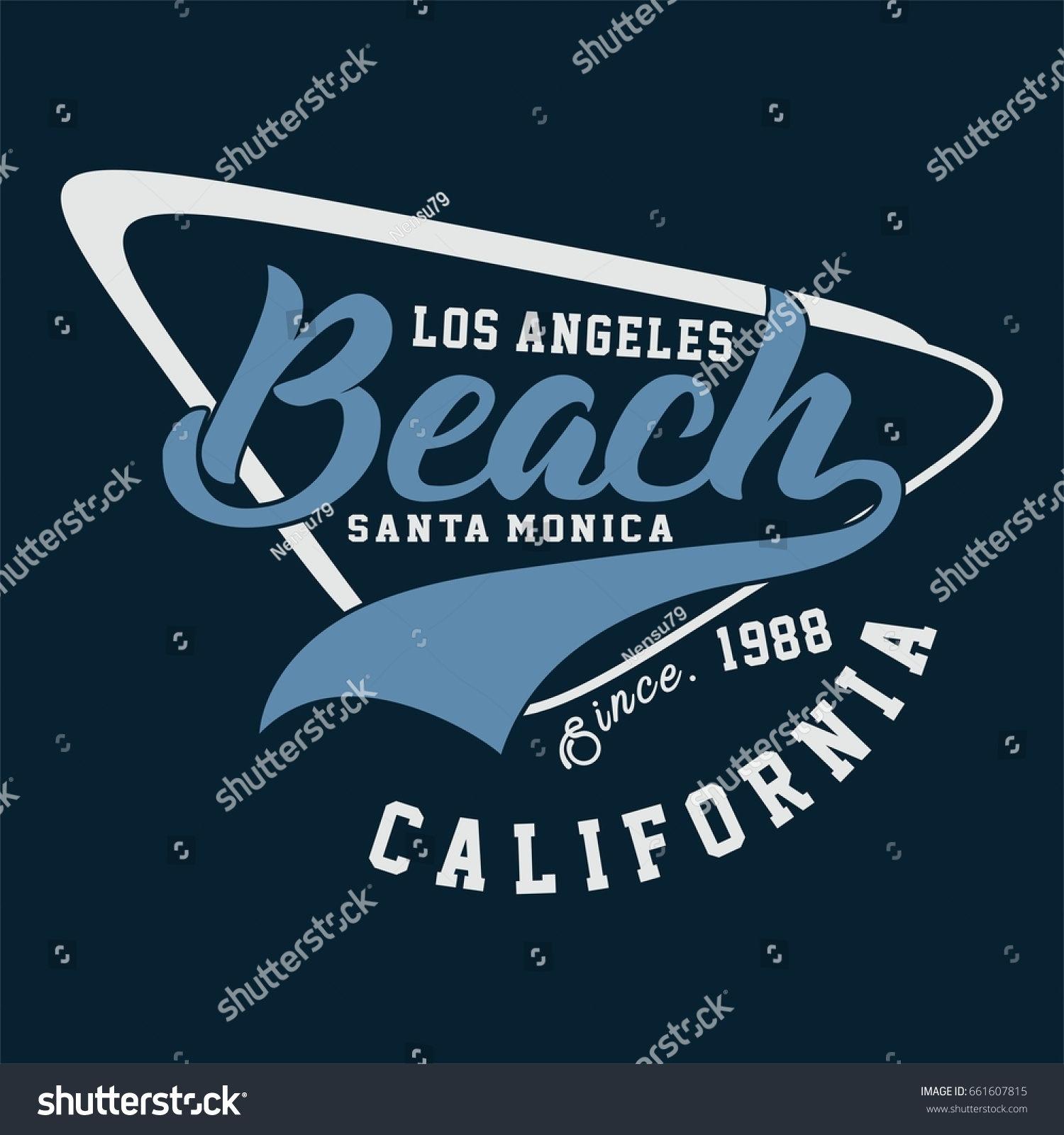Design t shirts los angeles - Design Alphabet And Numbers Los Angeles Beach California For T Shirts