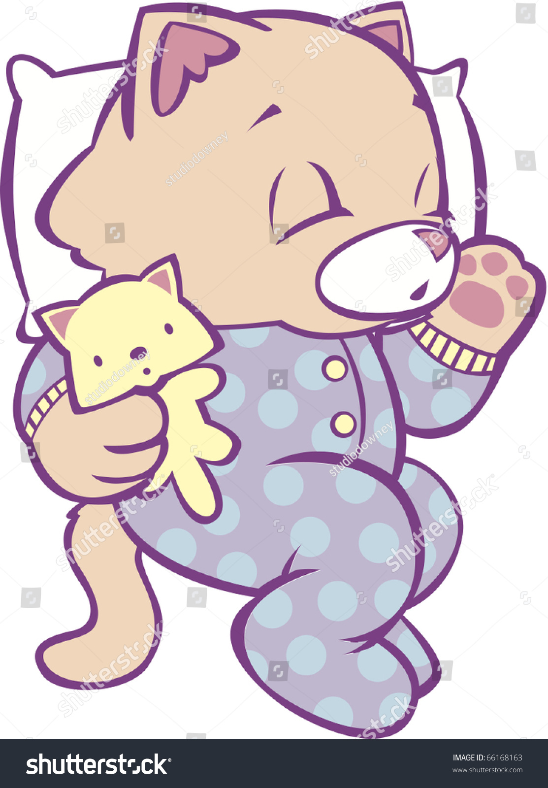 sleeping kitten polka dot pajamas full stock vector 66168163