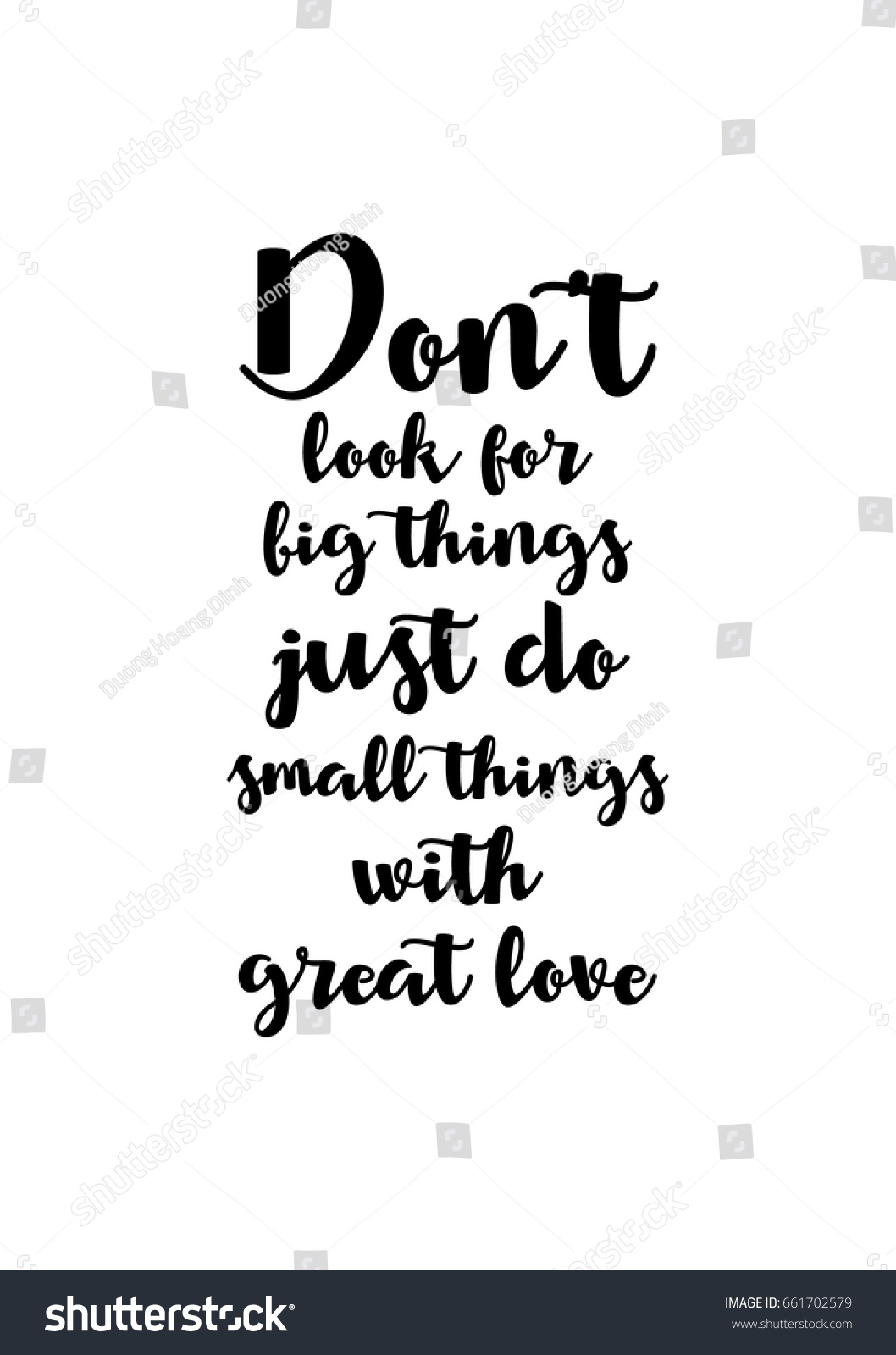 Great Small Quotes Lettering Quotes Motivation About Life Quote Stock Vector