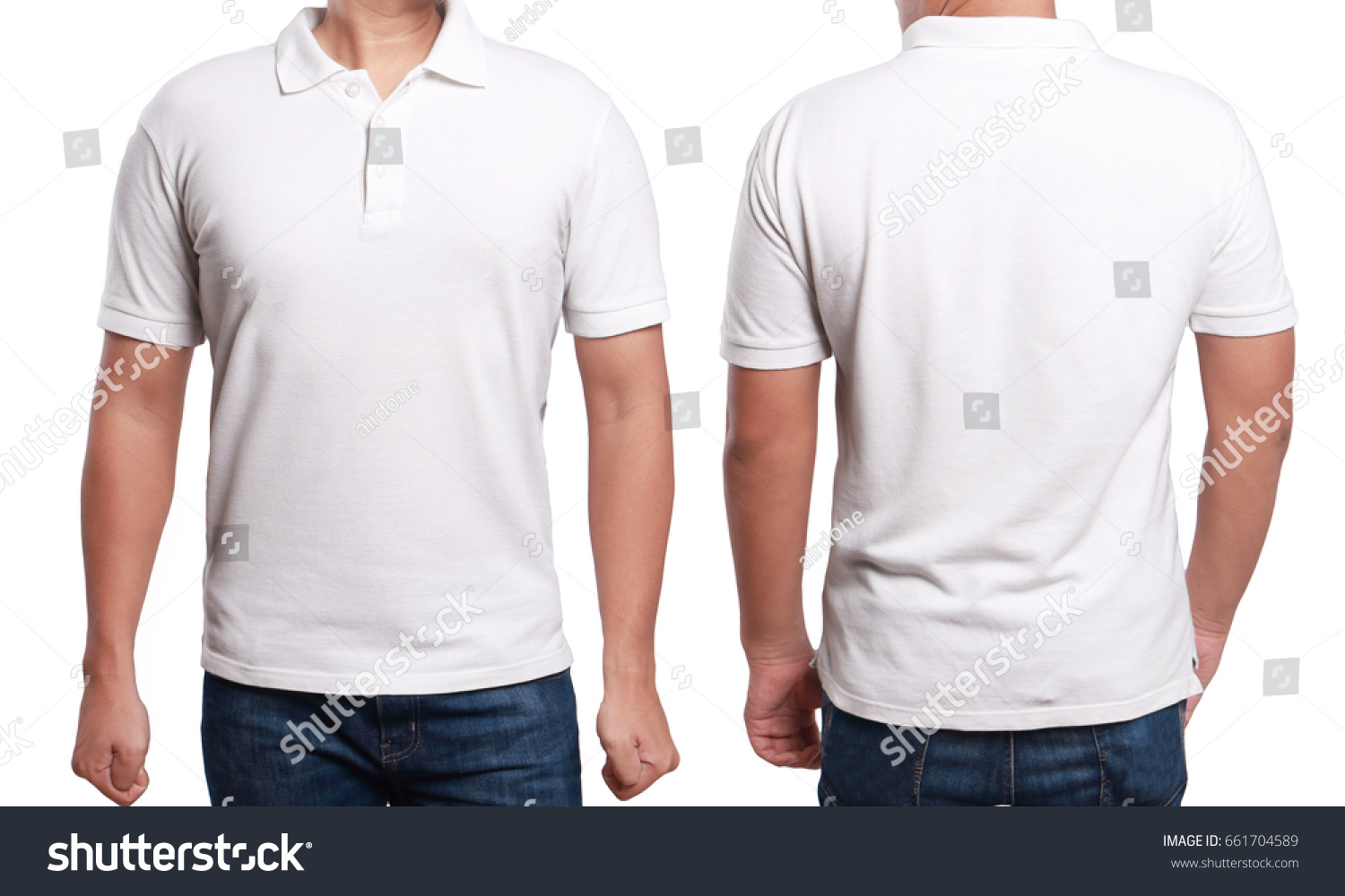T shirt plain white front and back - White Polo T Shirt Mock Up Front And Back View Isolated Male
