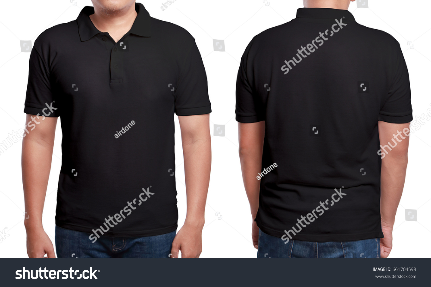 Black t shirt back and front plain - Black Polo T Shirt Mock Up Front And Back View Isolated Male