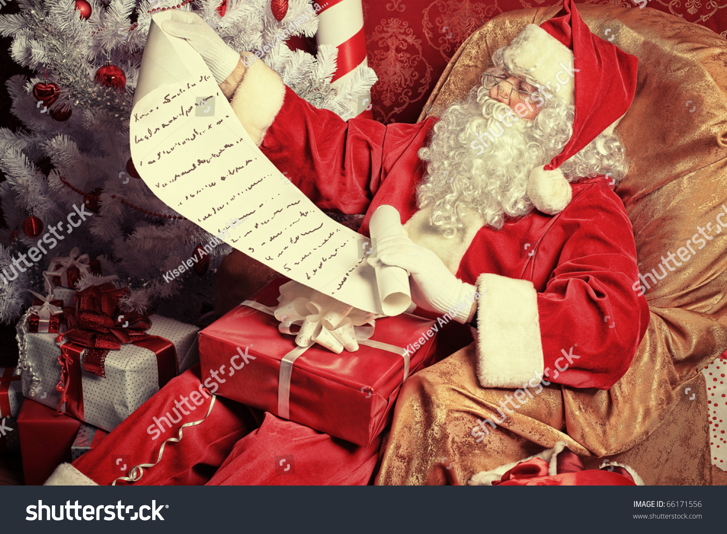 santa claus with presents and new year tree at home christmas - Santa Claus With Presents