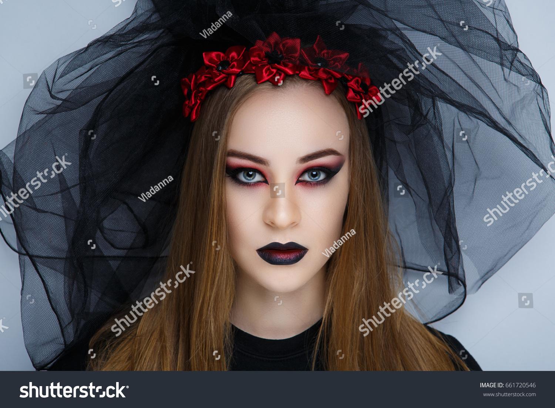 Creative Dark Makeup Conceptual Idea Halloween Stock Photo ...
