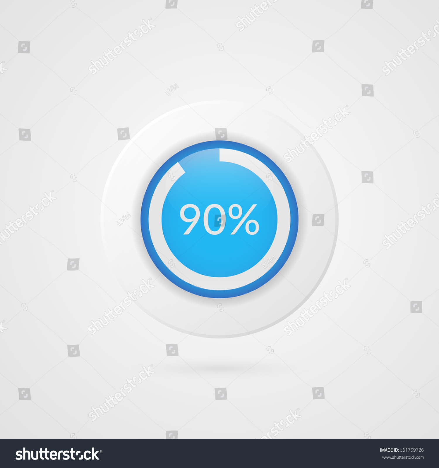 90 Percent Blue Pie Chart Percentage Stock Vector Royalty Free