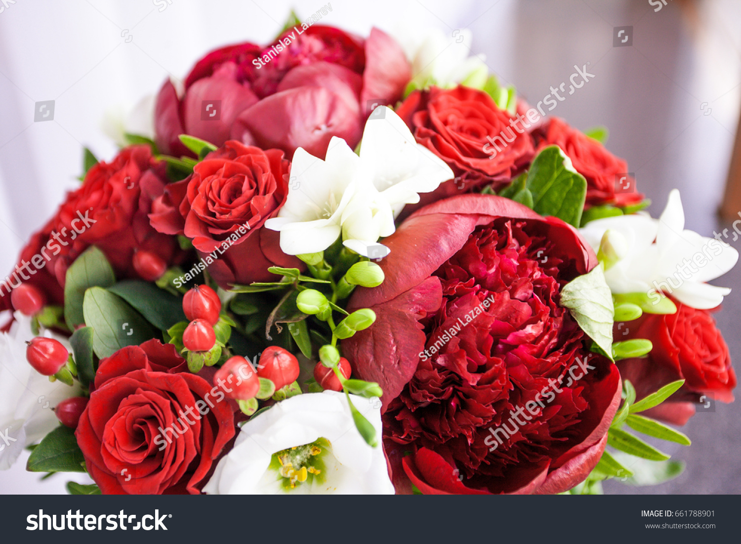 Bridal Bouquet Fresh Flowers Red Color Stock Photo (Royalty Free ...