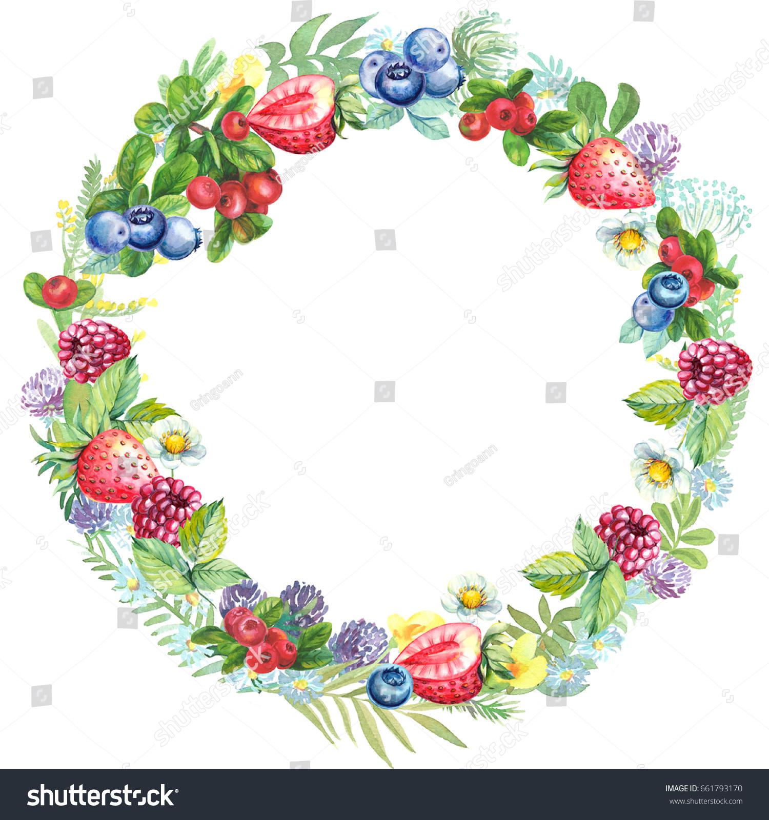 Greeting Card Wreath Watercolor Berries Wild Stock Illustration