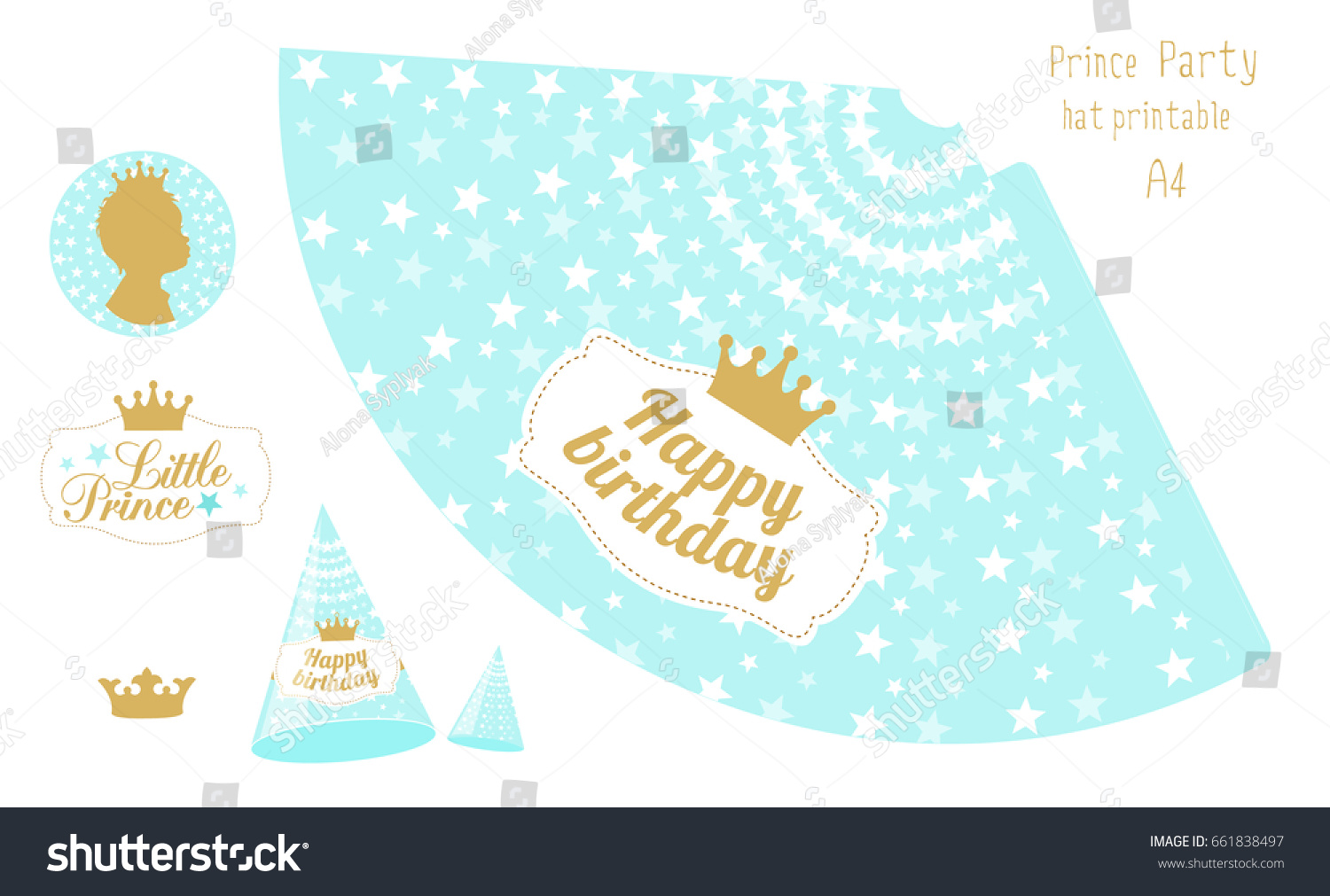 Party hats printable blue gold prince stock vector royalty free party hats printable blue and gold prince party print and cut happy birthday maxwellsz