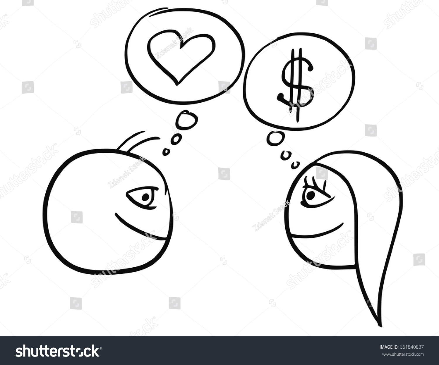 Cartoon Vector Difference Between Man Woman Stock Vector Royalty