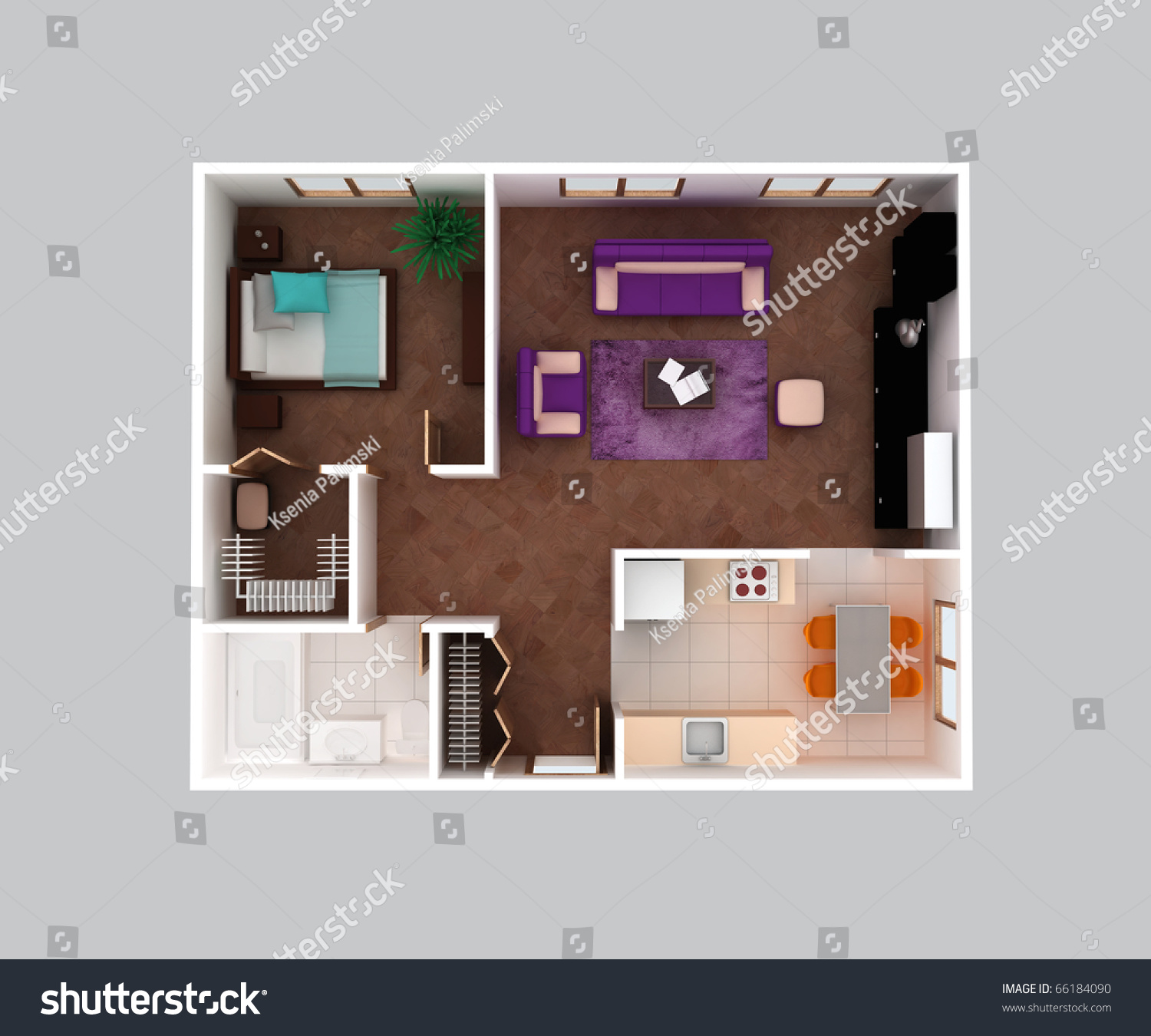 Plan view house clear 3d interior stock illustration for Kitchen dining hall design