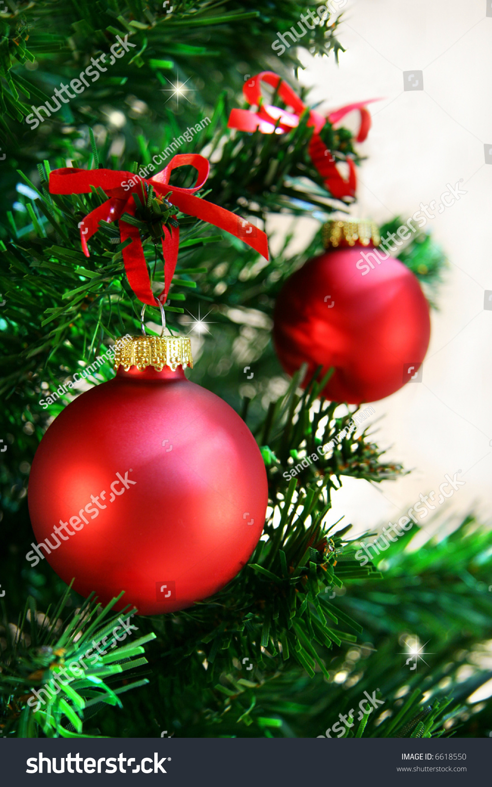 Red balls hanging from christmas tree stock photo
