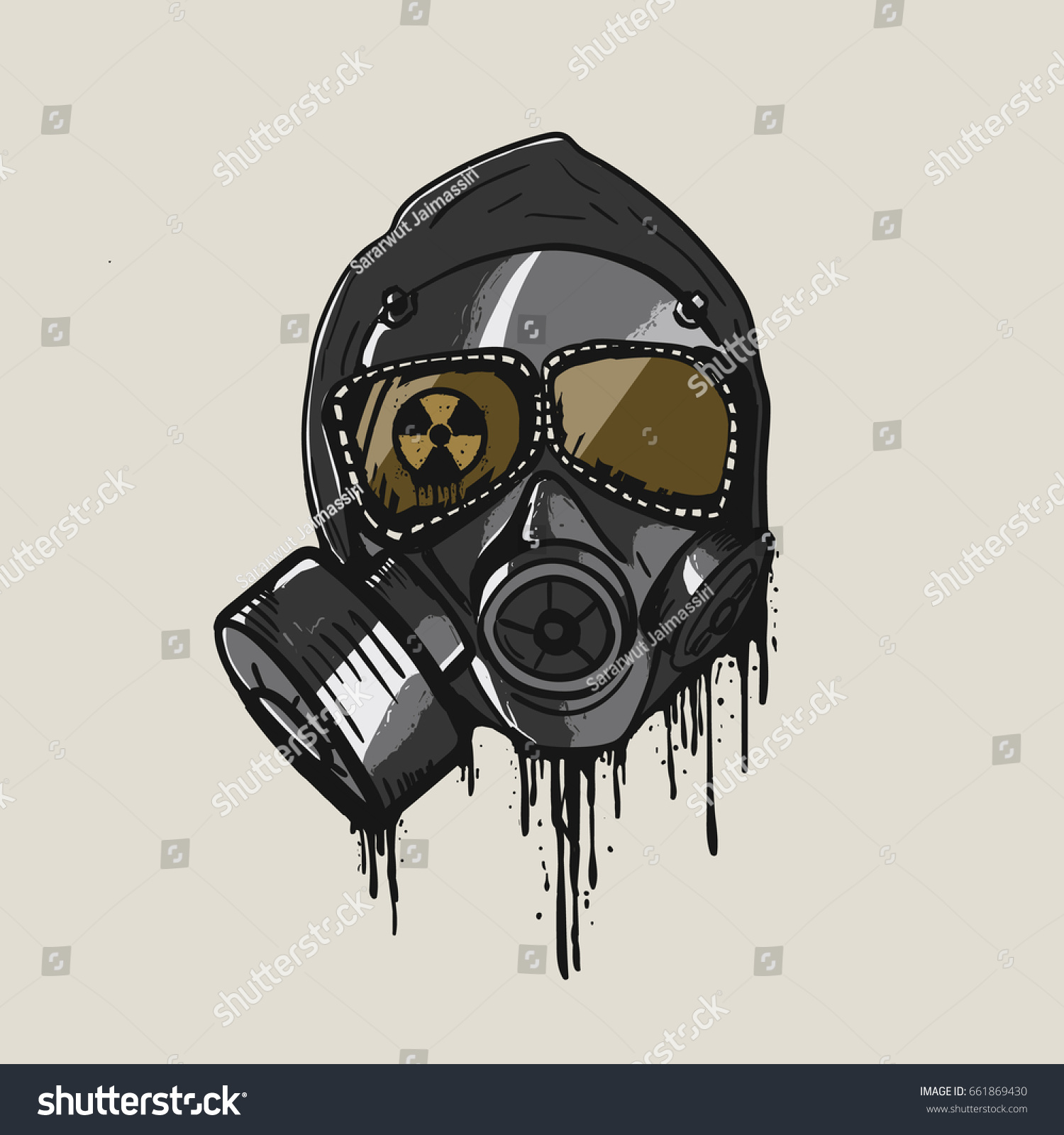 Gas mask in graffiti style vector