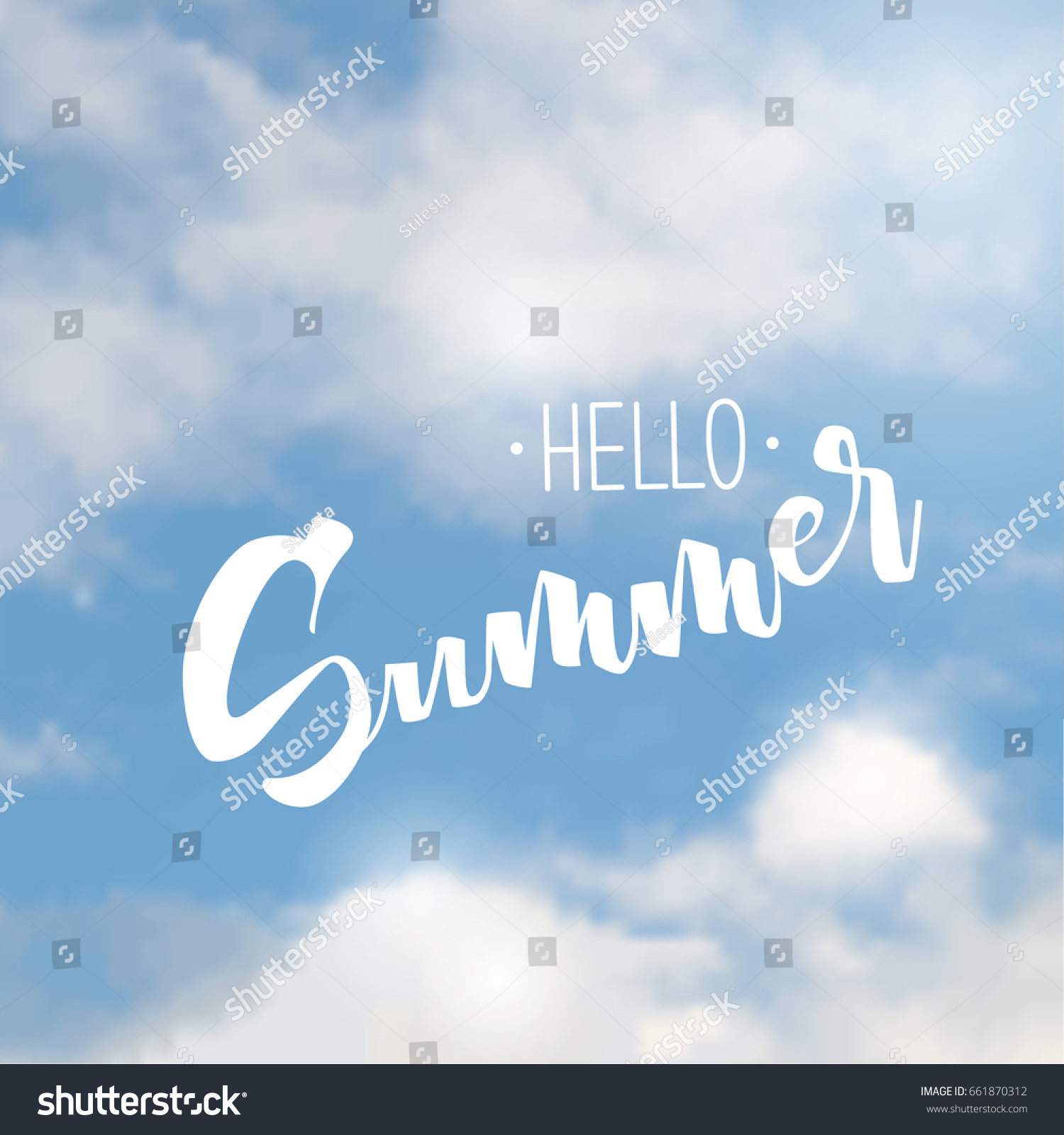 Great Vector Sky, Sky Background, White Clouds. The Inscription Is Hello Summer,  Summer Nice Design