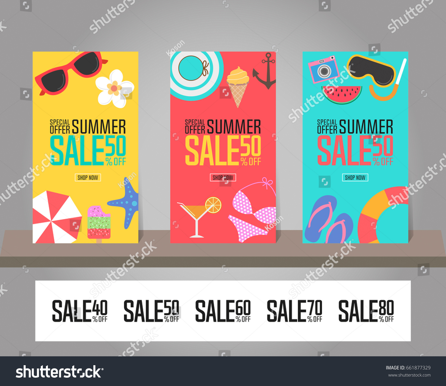 summer sale background poster brochure flyer stock vector royalty