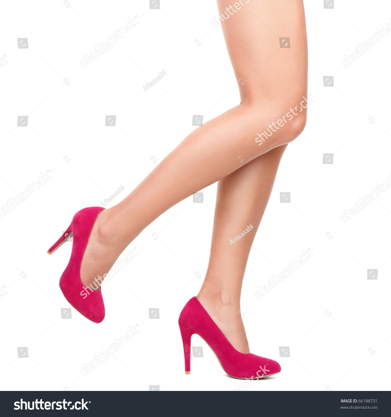 Sexy Legs Pink High Heels Isolated Stock Photo 66188731 - Shutterstock
