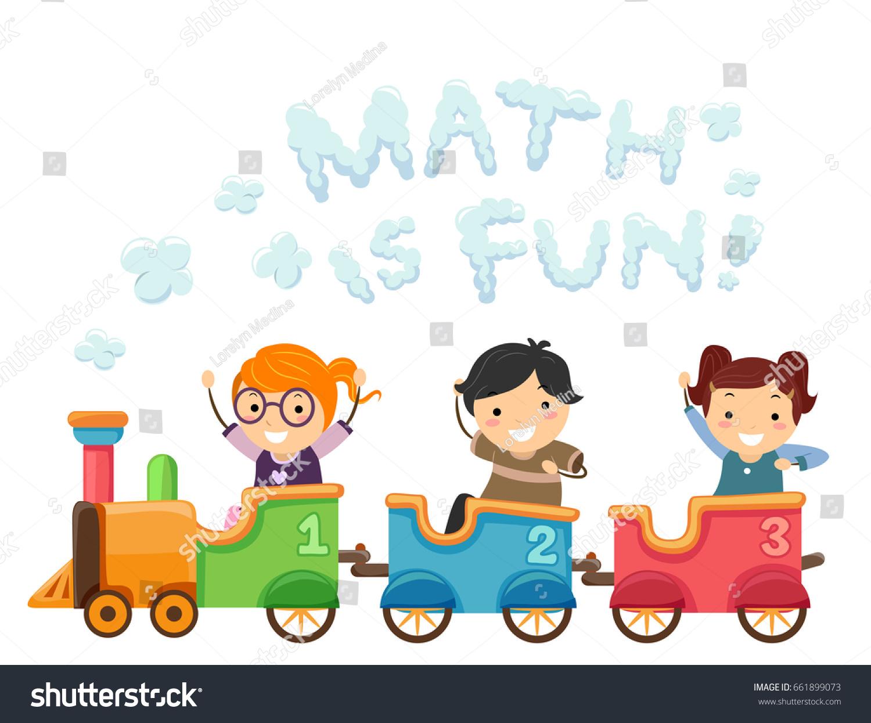 Illustration Stickman Kids Riding Math Train Stock Vector HD ...