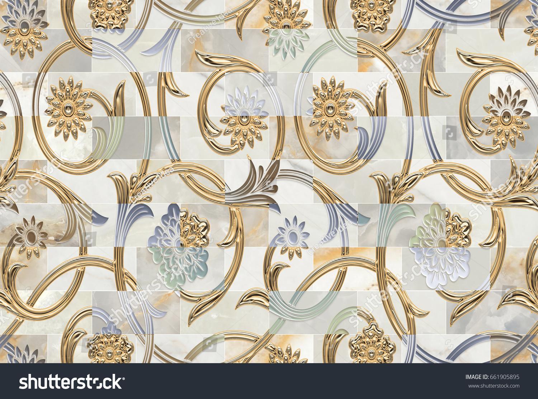 Wall Art Decorative Tiles Pattern Design Stock Illustration