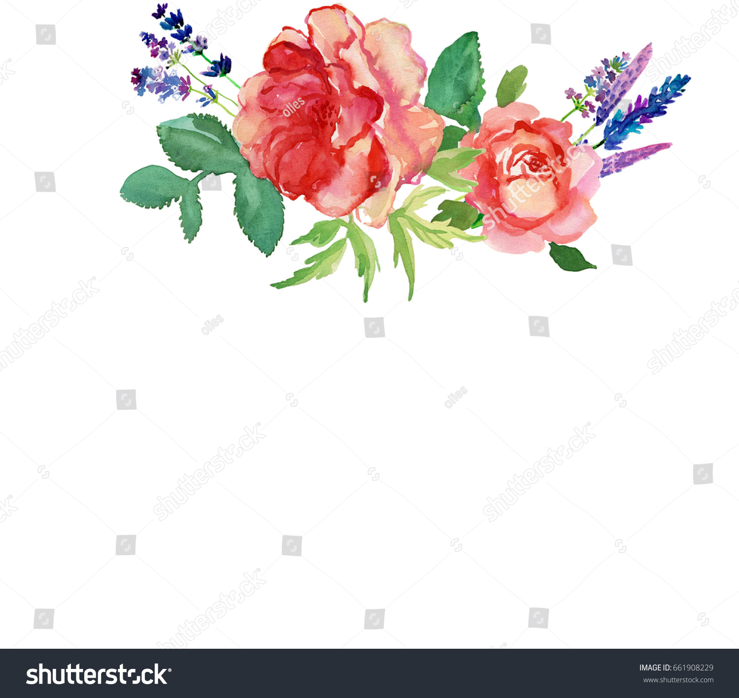 Cute Watercolor Hand Painted Pink Roses Stock Illustration