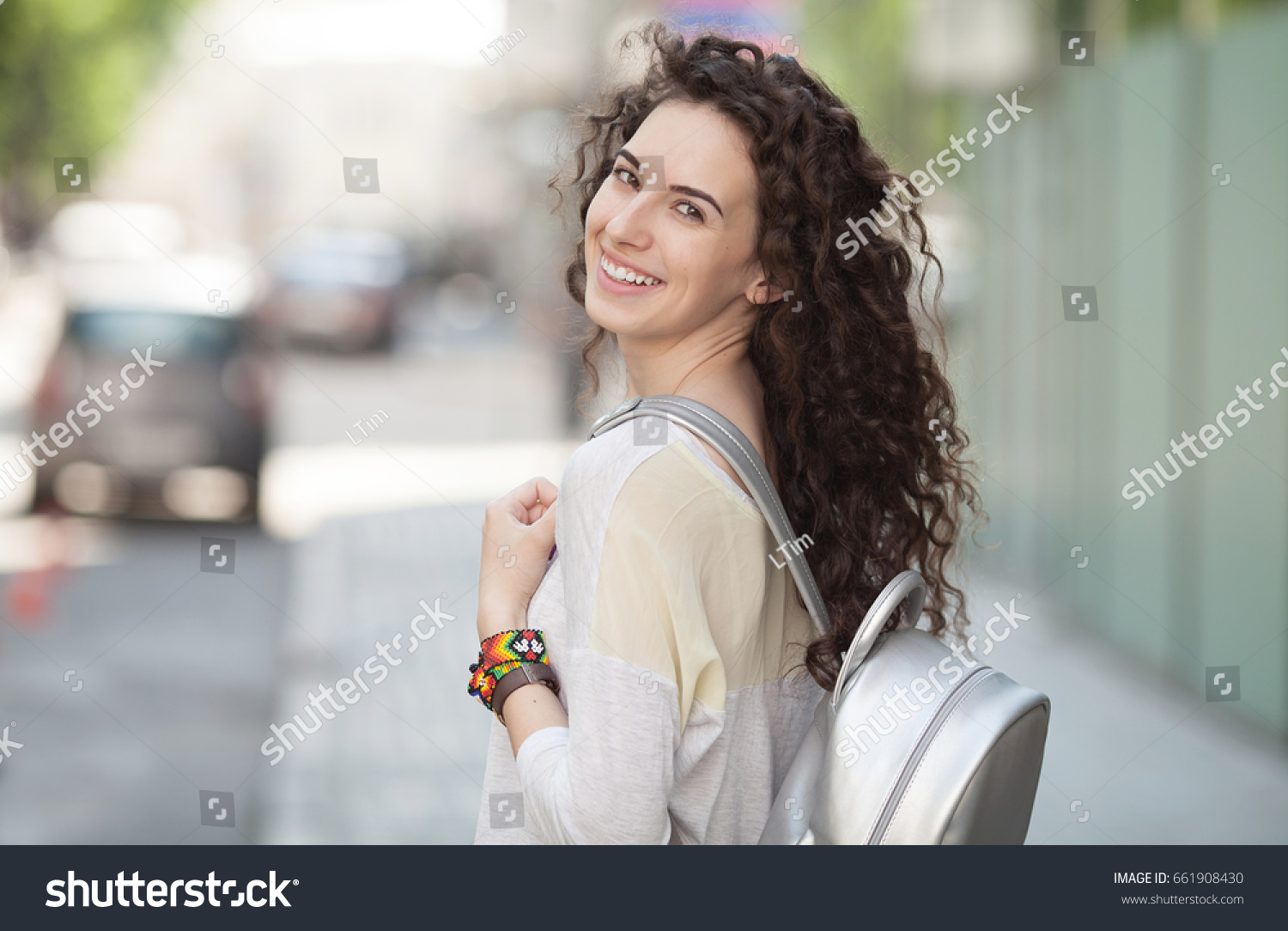 3458abcec5 Beautiful Sunny Portrait Curly Hair Girl Stock Photo (Edit Now ...