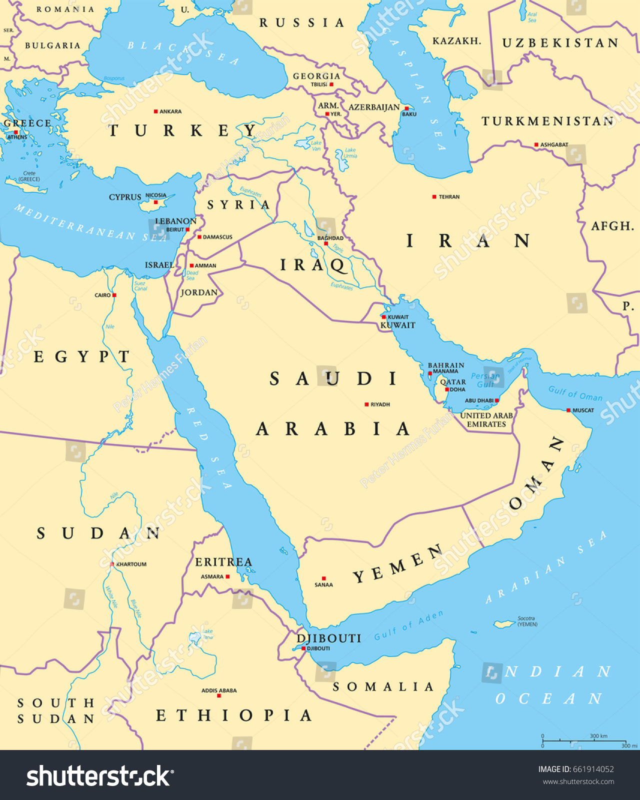 middle east political map with capitals and national borders transcontinental region centered on western asia