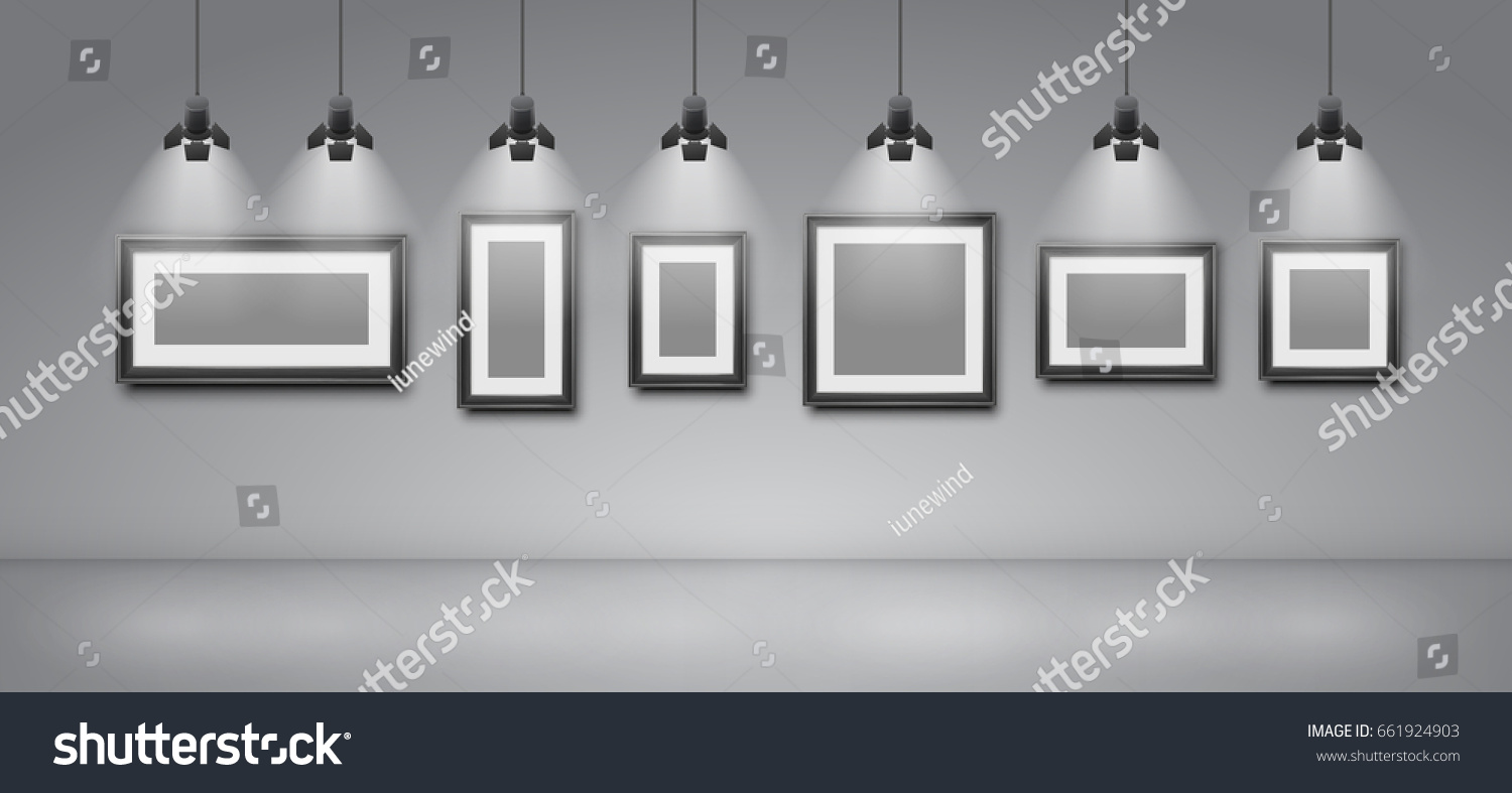 Empty Pictures Frames Wall Template Gallery Stock Vector 661924903 ...