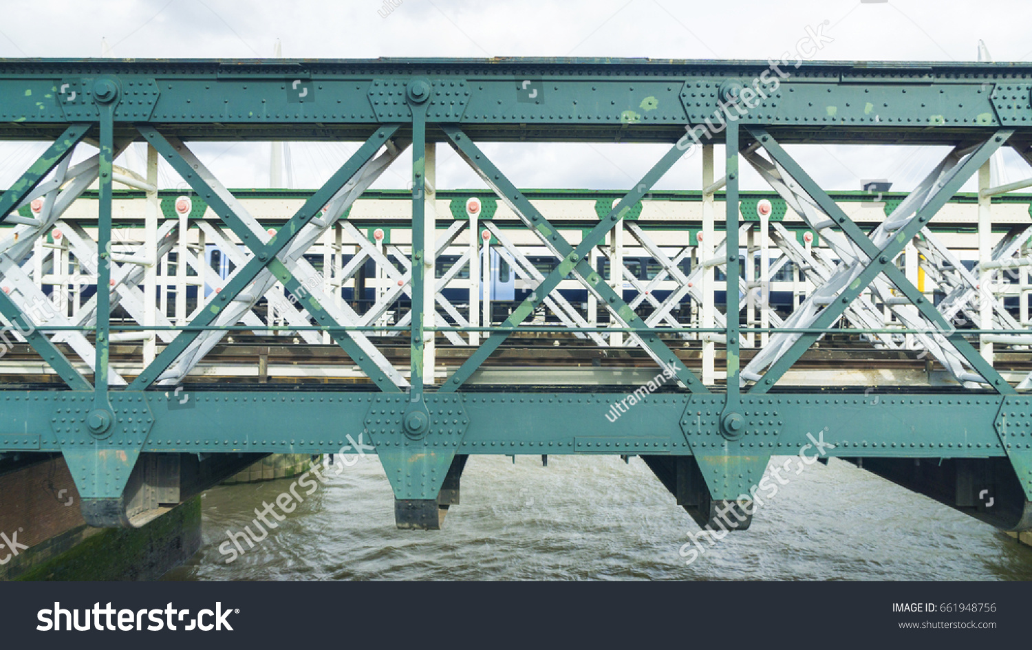 Steel Truss Structure Bridge Over River Stock Photo (Edit