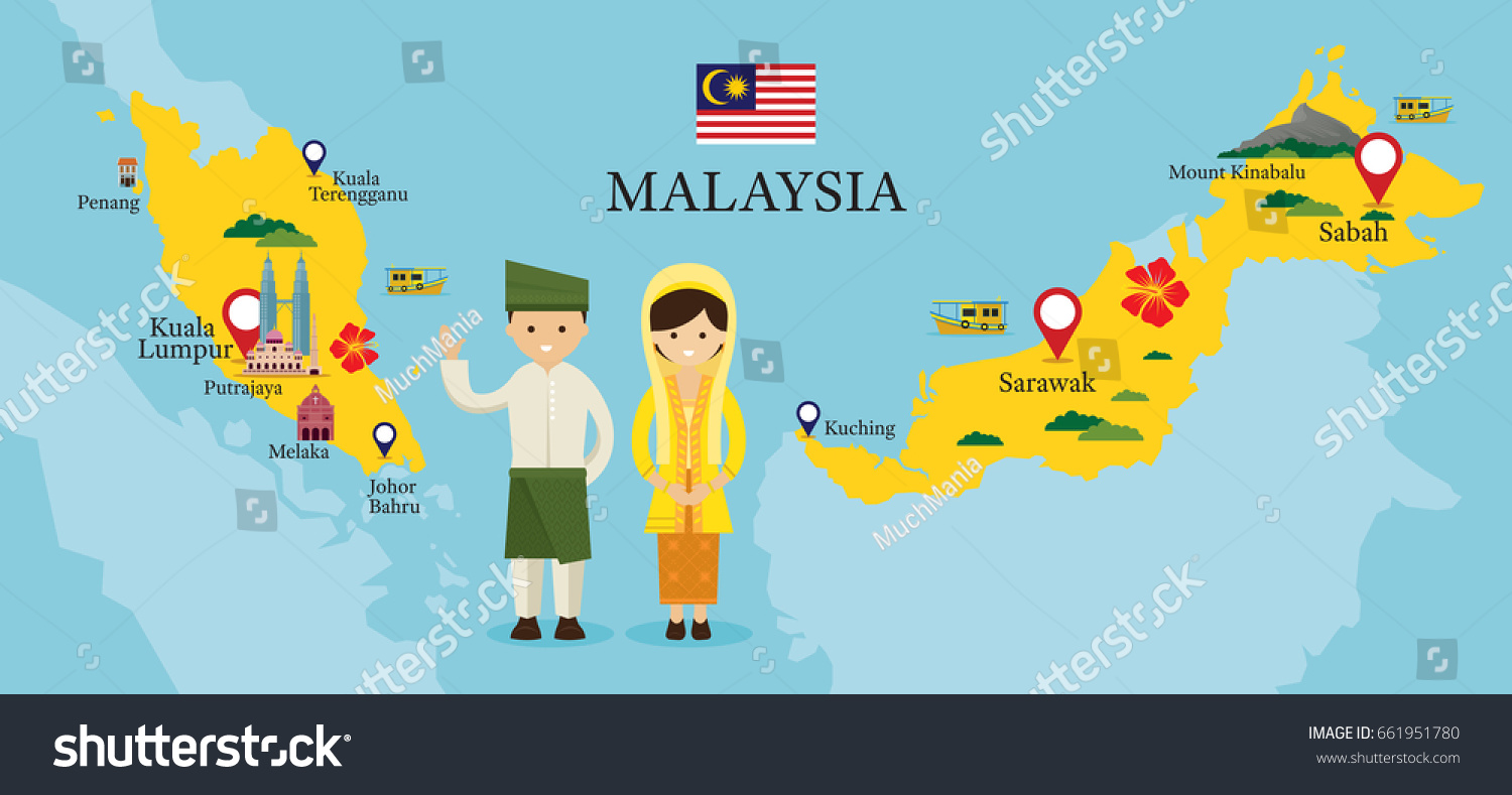 Malaysia Map Landmarks People Traditional Clothing Stock Vector - Malaysia map