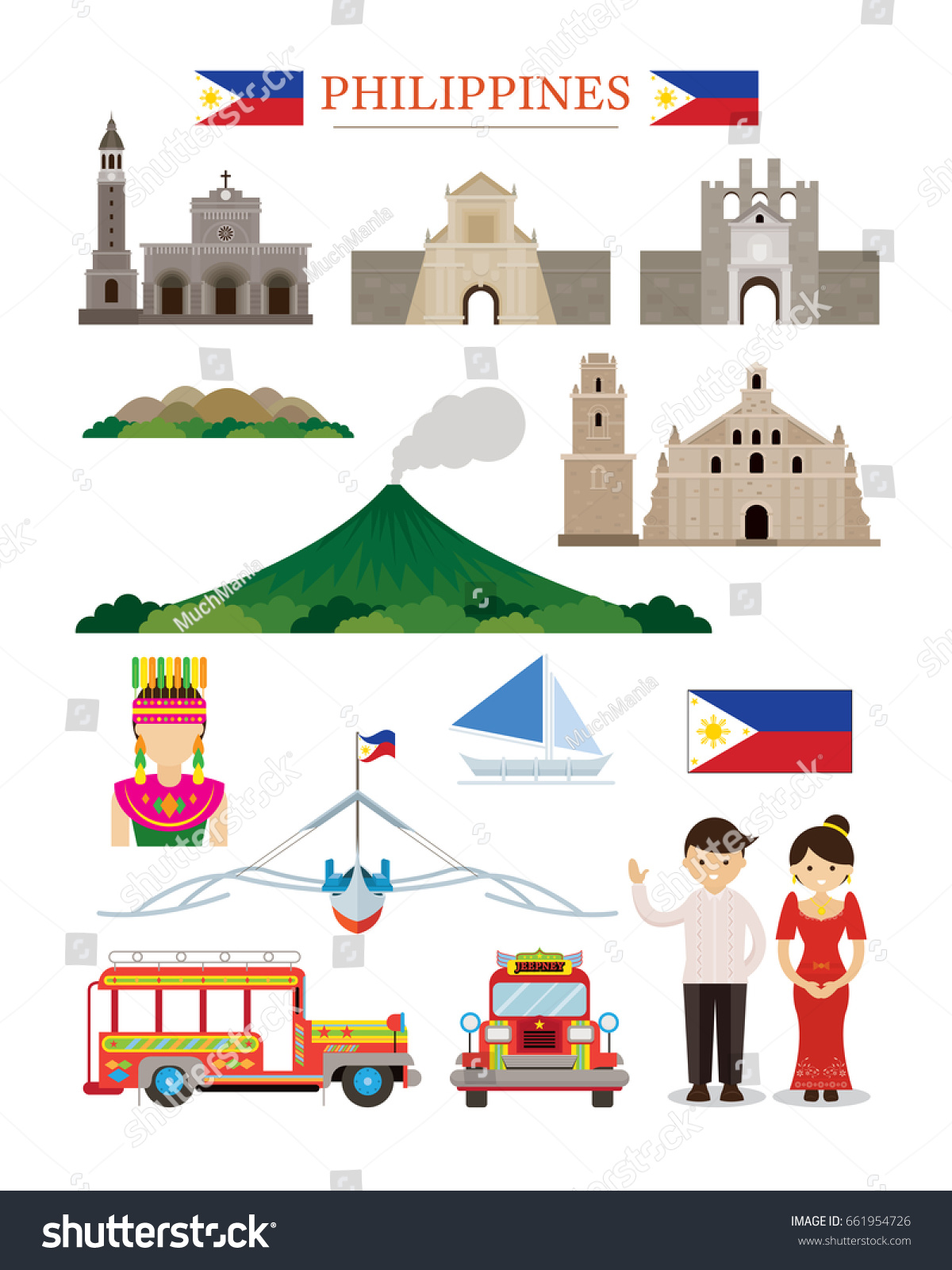 Famous Architecture Buildings In The Philippines philippines landmarks architecture building object set stock