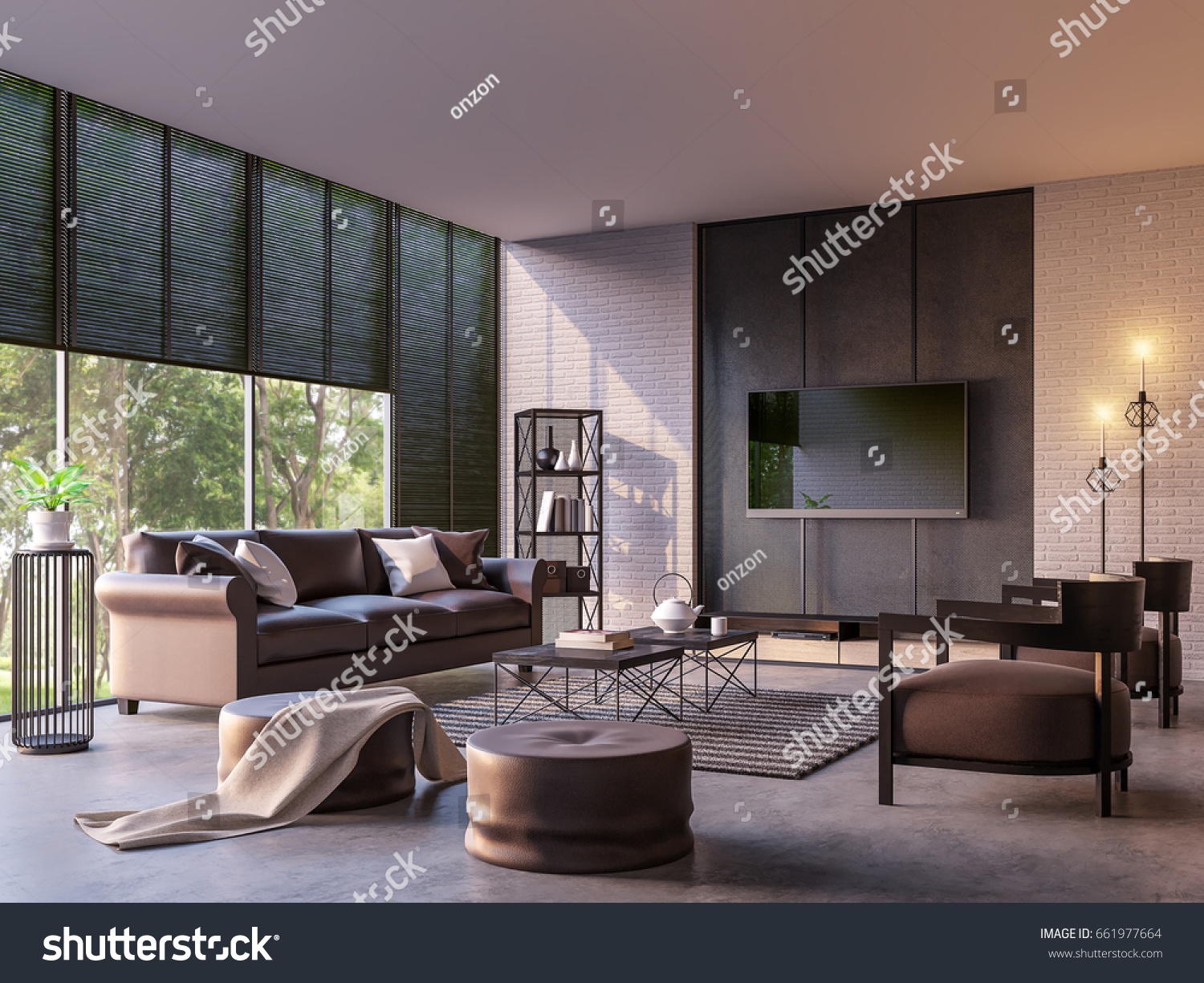 Modern Loft Living Room With Nature View 3d Rendering Image Furnished With  Dark Brown Leather And