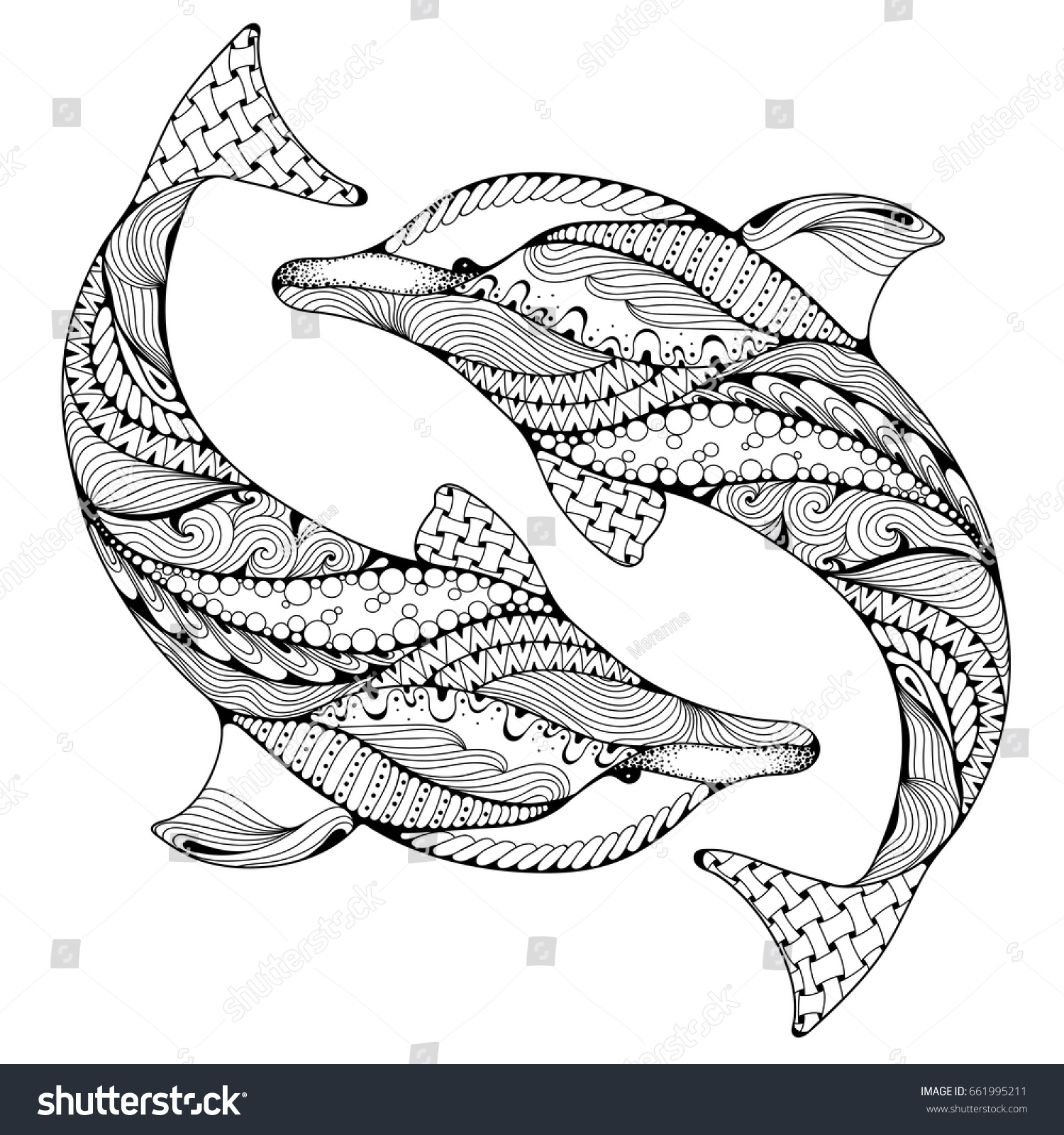 Stylized ocean dolphin animal freehand sketch for adult anti stress coloring page with doodle and