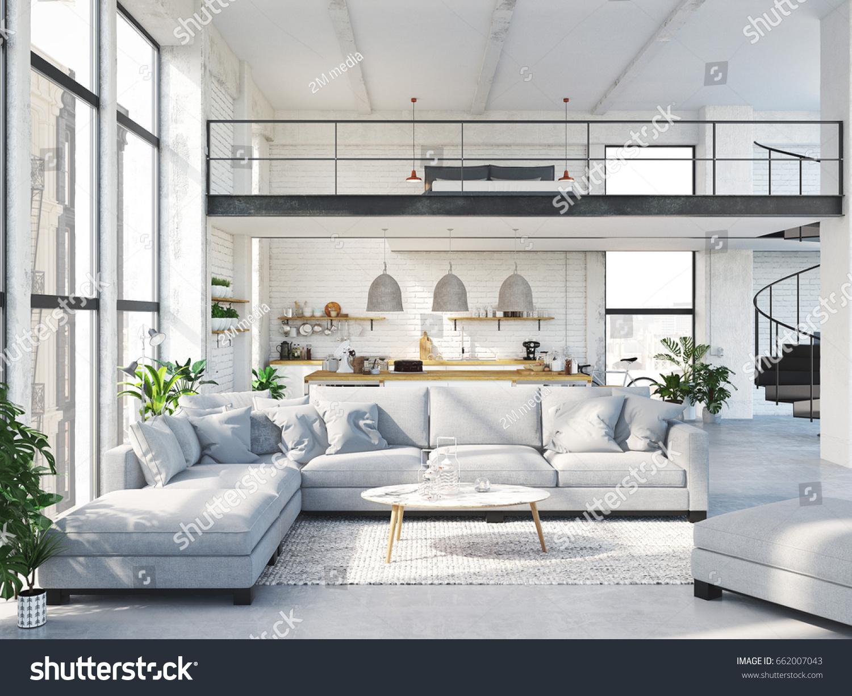 3 D Rendering Loft Apartment Living Room Stock Illustration ...