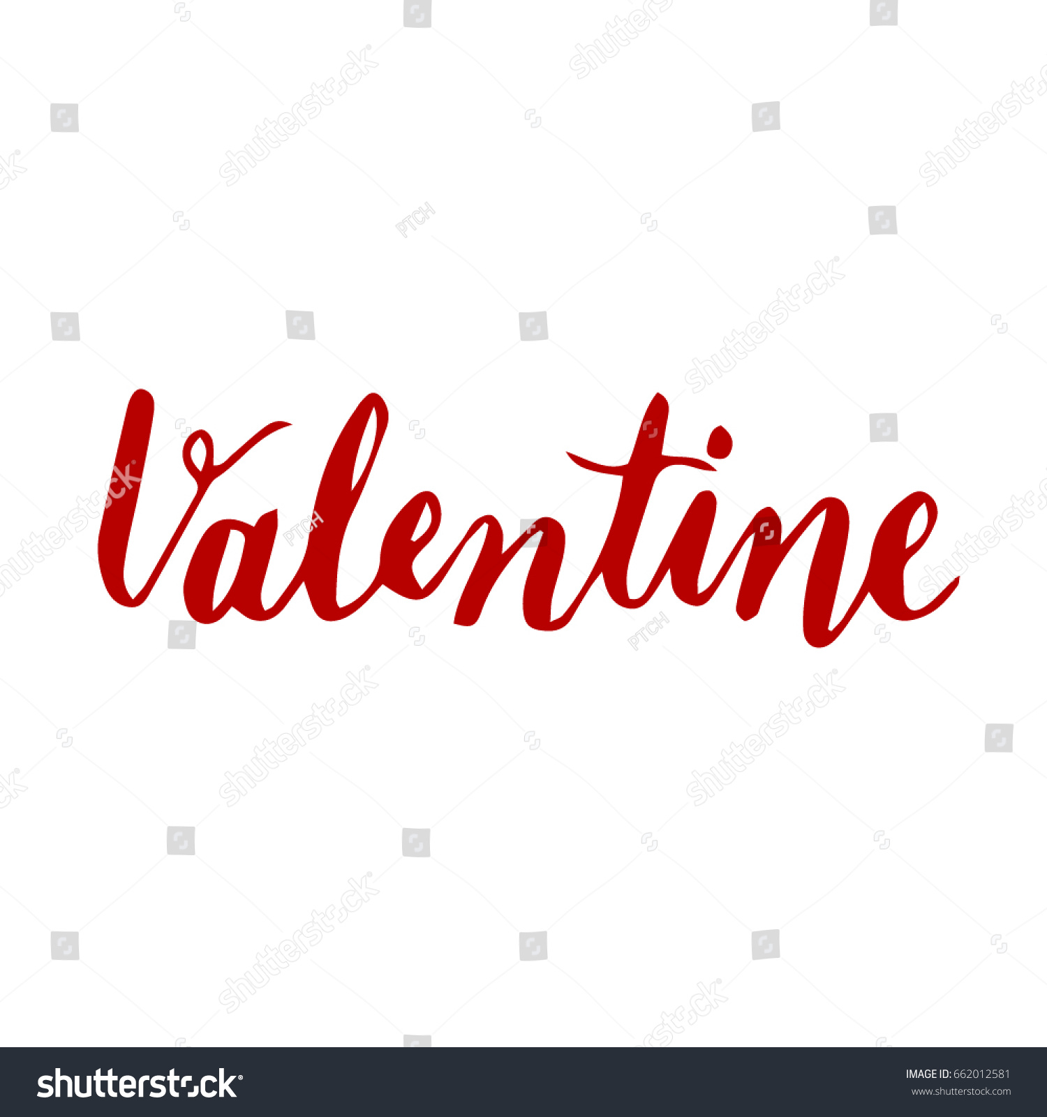Valentine.Handwriting Font By Calligraphy Process With Color Background  That For The Letter Or Special