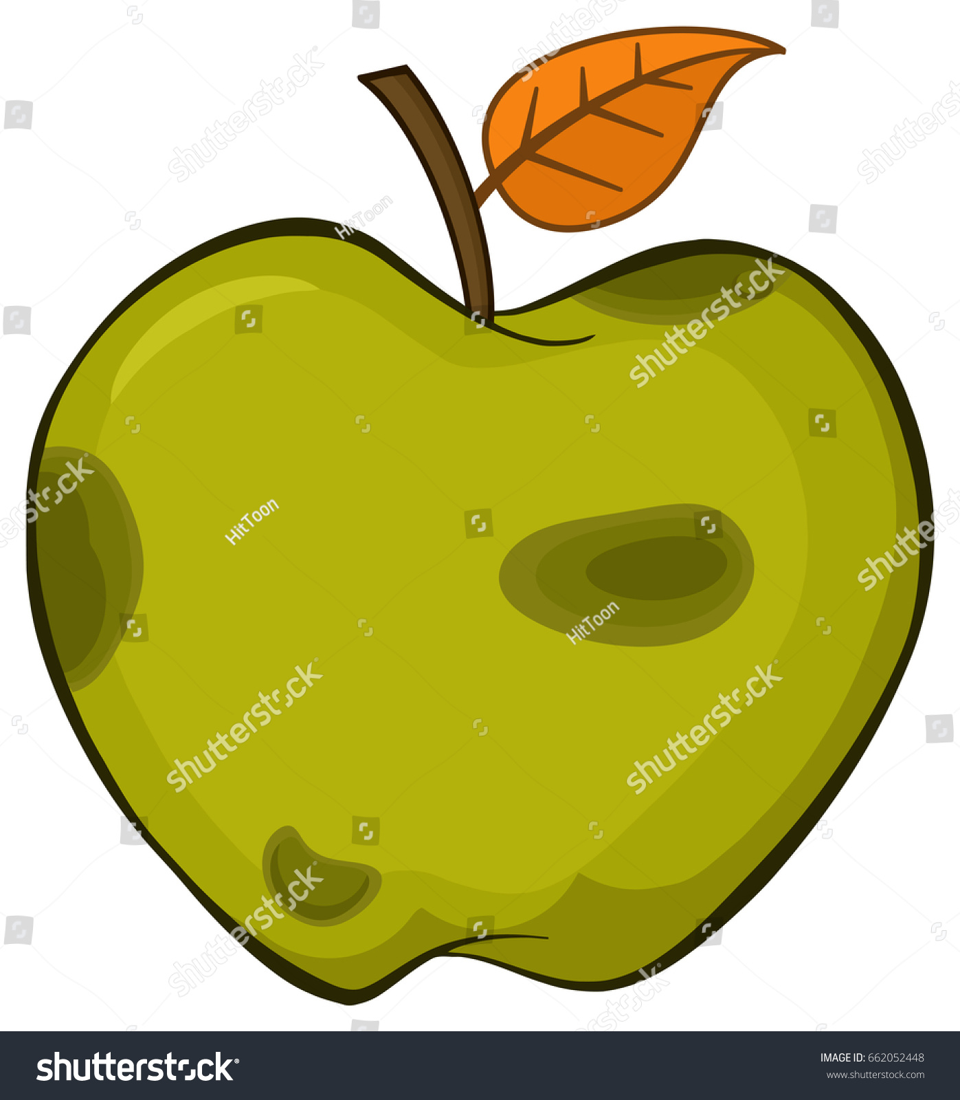 green apple fruit drawing. rotten green apple fruit with leaf cartoon drawing simple design. raster illustration isolated on white s