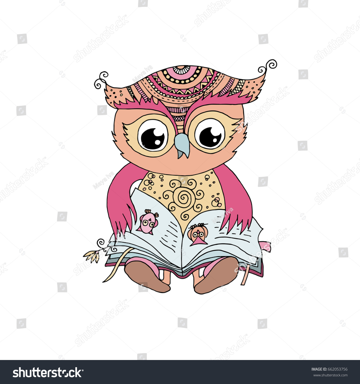 Mom Owl Book Quick Start Guide Of Wiring Diagram Model Evcon Mbc42cq Cute Colorful Sitting Reading Stock Illustration 662053756 Rh Shutterstock Com