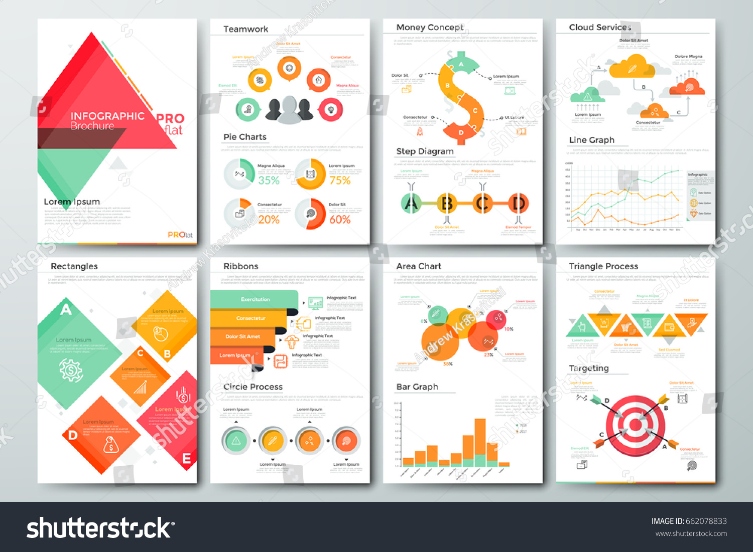 Drawing diagrams in pages - Futuristic Infographic Brochure Template Pages With Diagrams Bar And Line Graphs And Charts