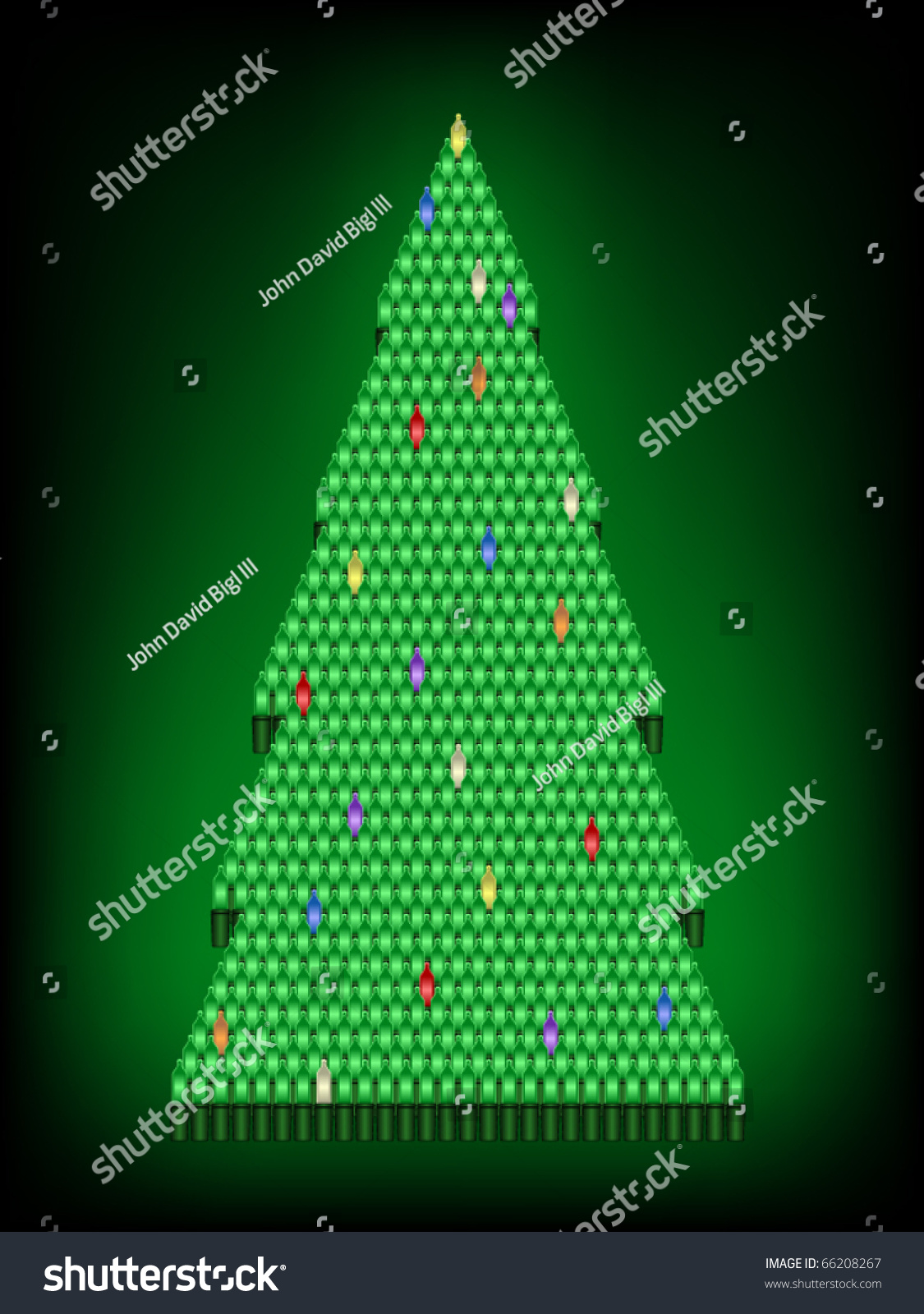 Christmas Tree Composed Bright Colored Lights Stock Vector 66208267 ...