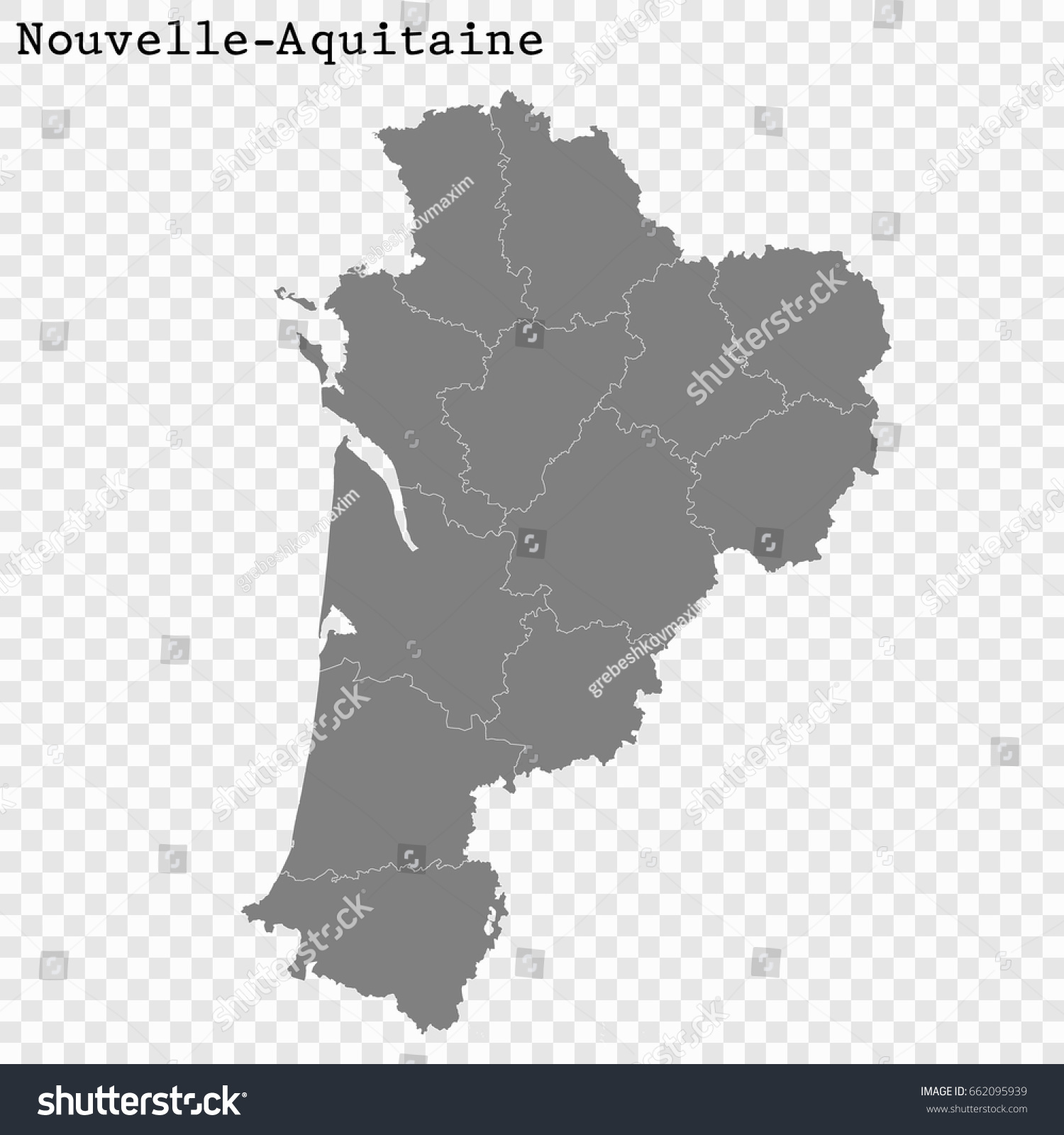 High Quality Map Nouvelleaquitaine Region France Stock Vector