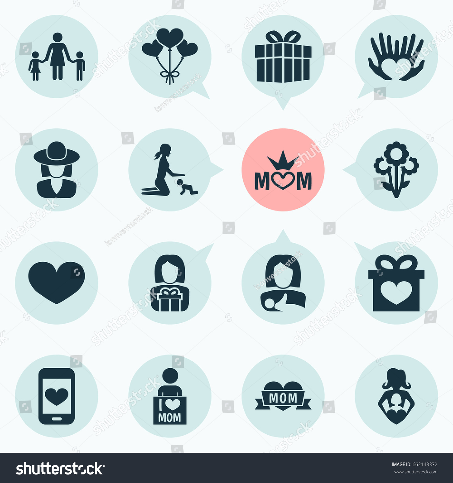 Mothers day icon design concept set stock vector 662143372 mothers day icon design concept set of 16 such elements as loving palms and buycottarizona Image collections