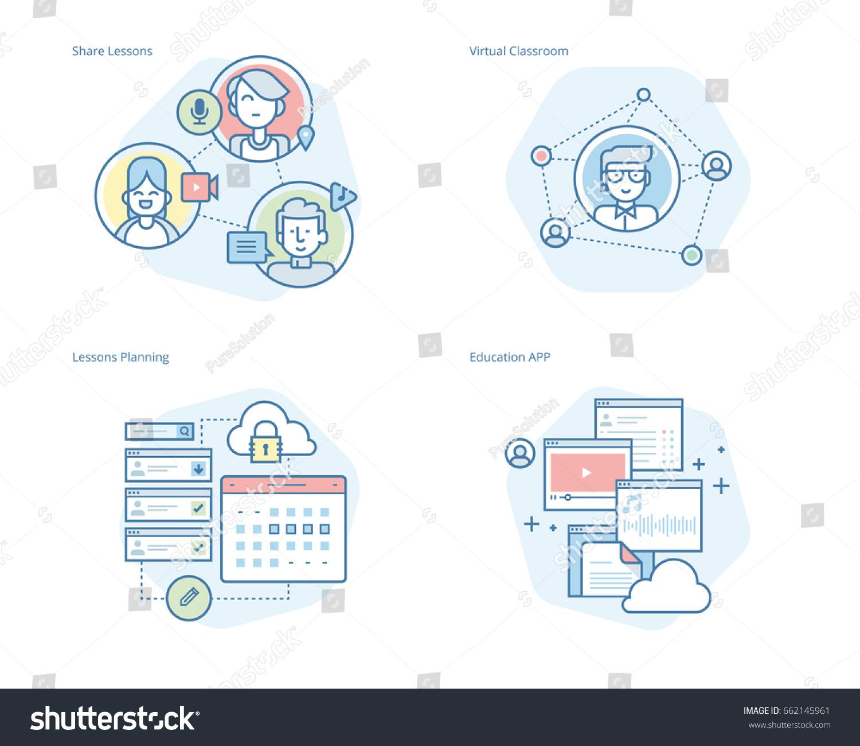 Classroom Network Design ~ Set concept line icons online education 스톡 벡터