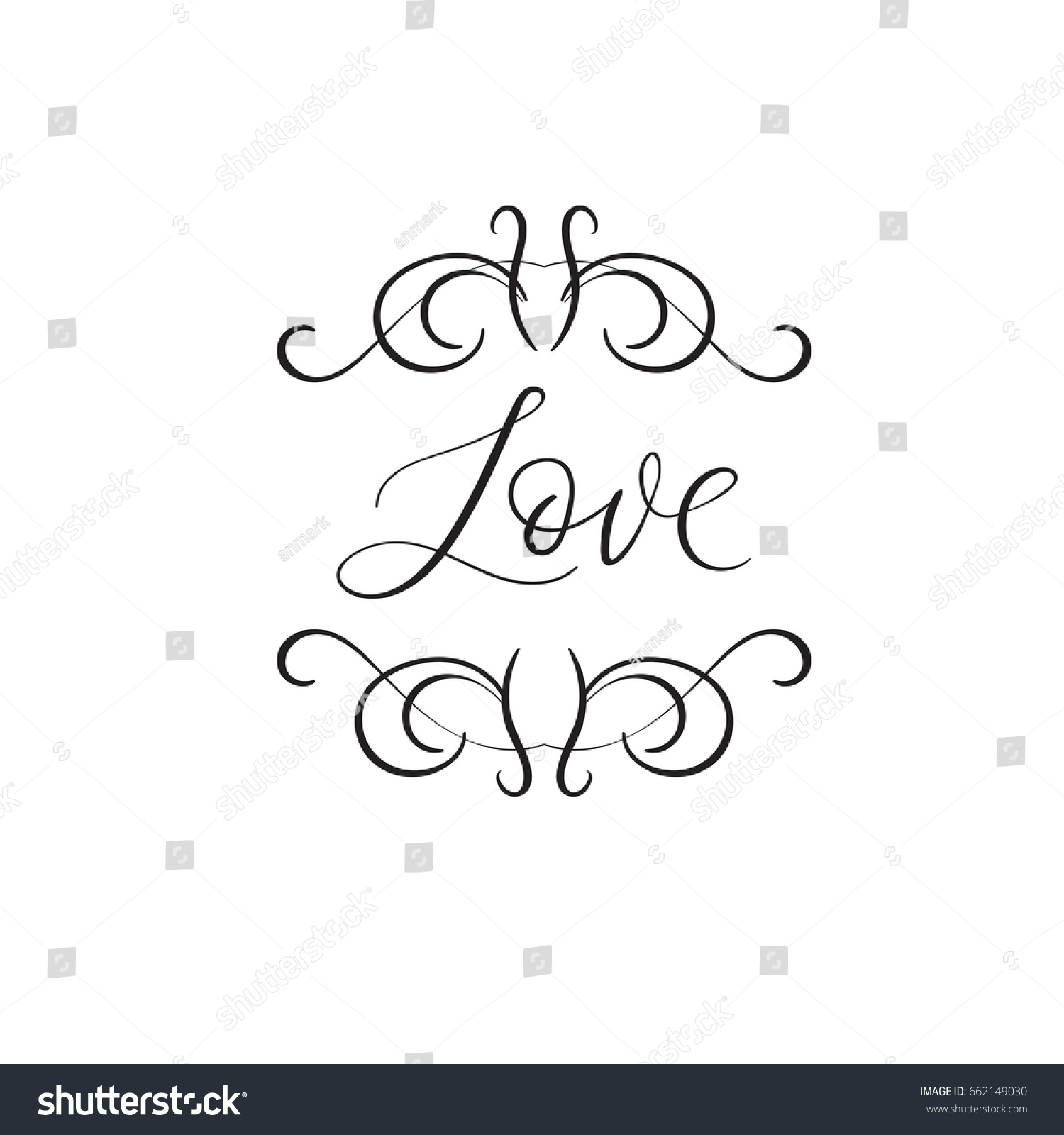 Love Handwritten Wedding Phrase Modern Calligraphy Stock Vector