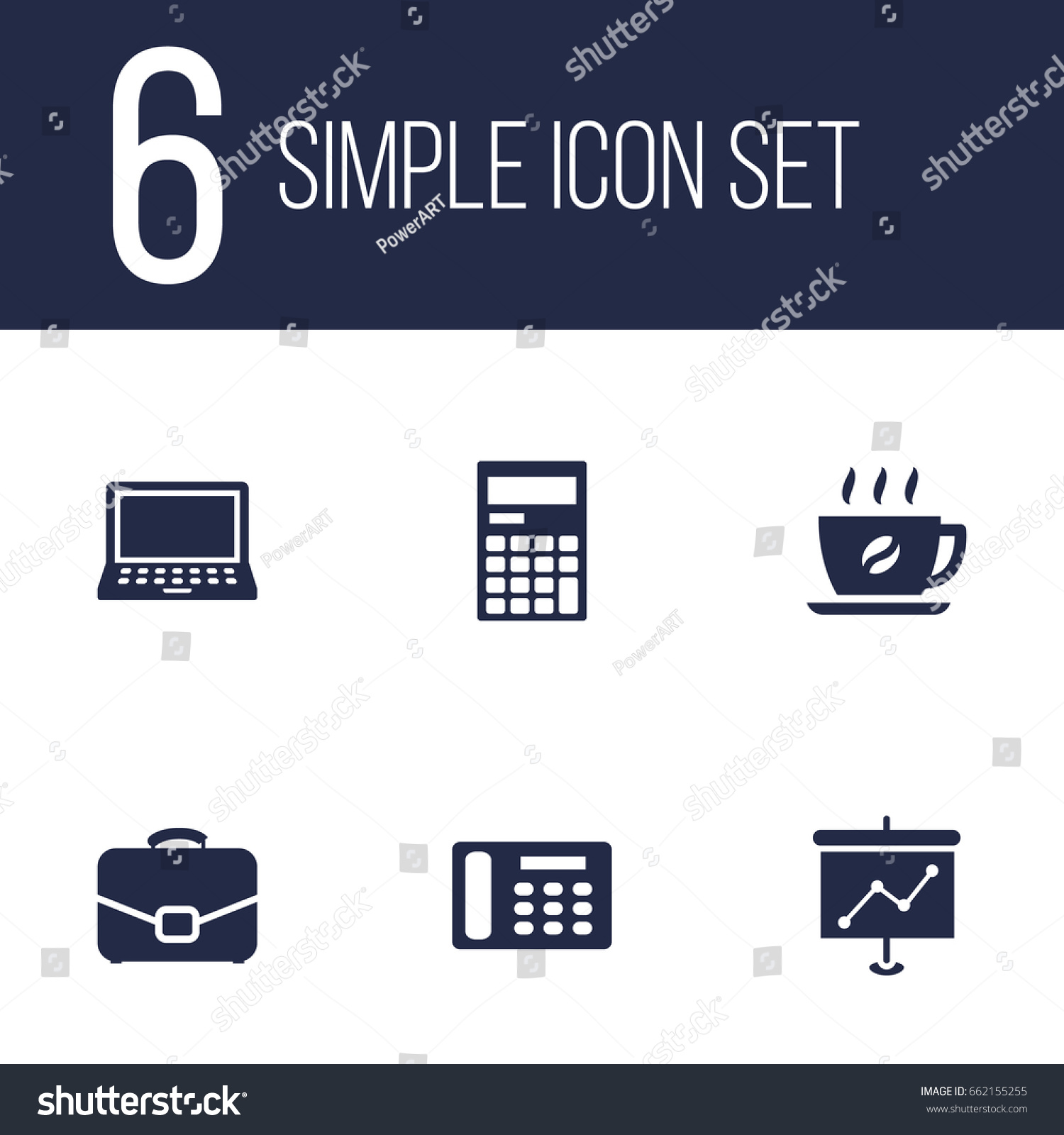 Set 6 Bureau Icons Setcollection Telephone Stock Vector 662155255