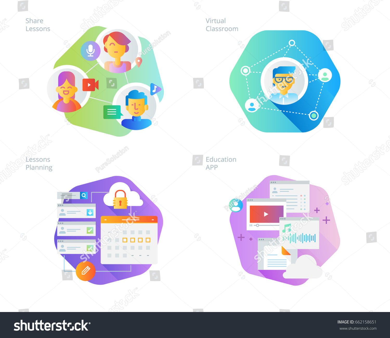 Classroom Layout App ~ Material design icons set online education stock vector