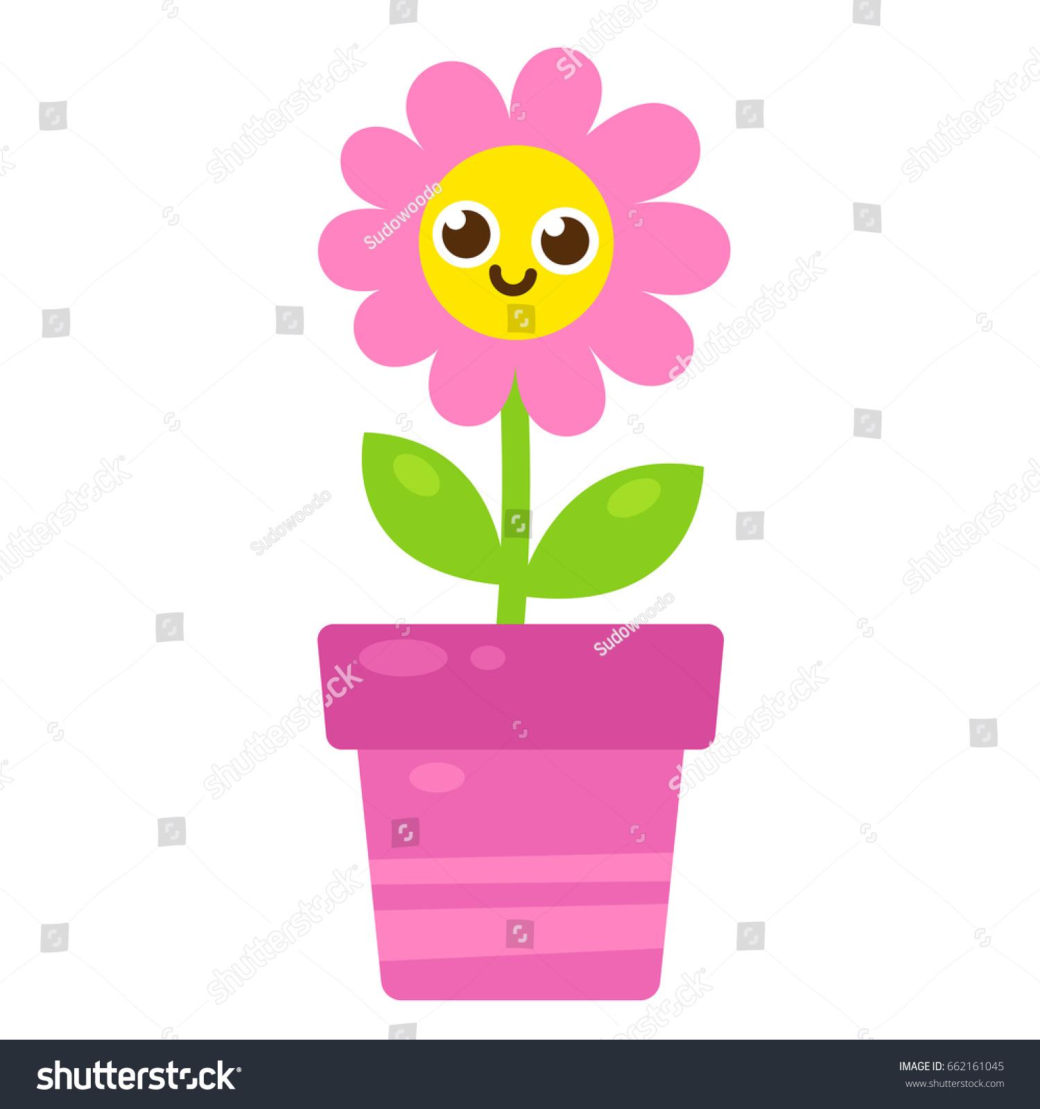 Cute Cartoon Pink Flower Smiling Face Stock Illustration 662161045