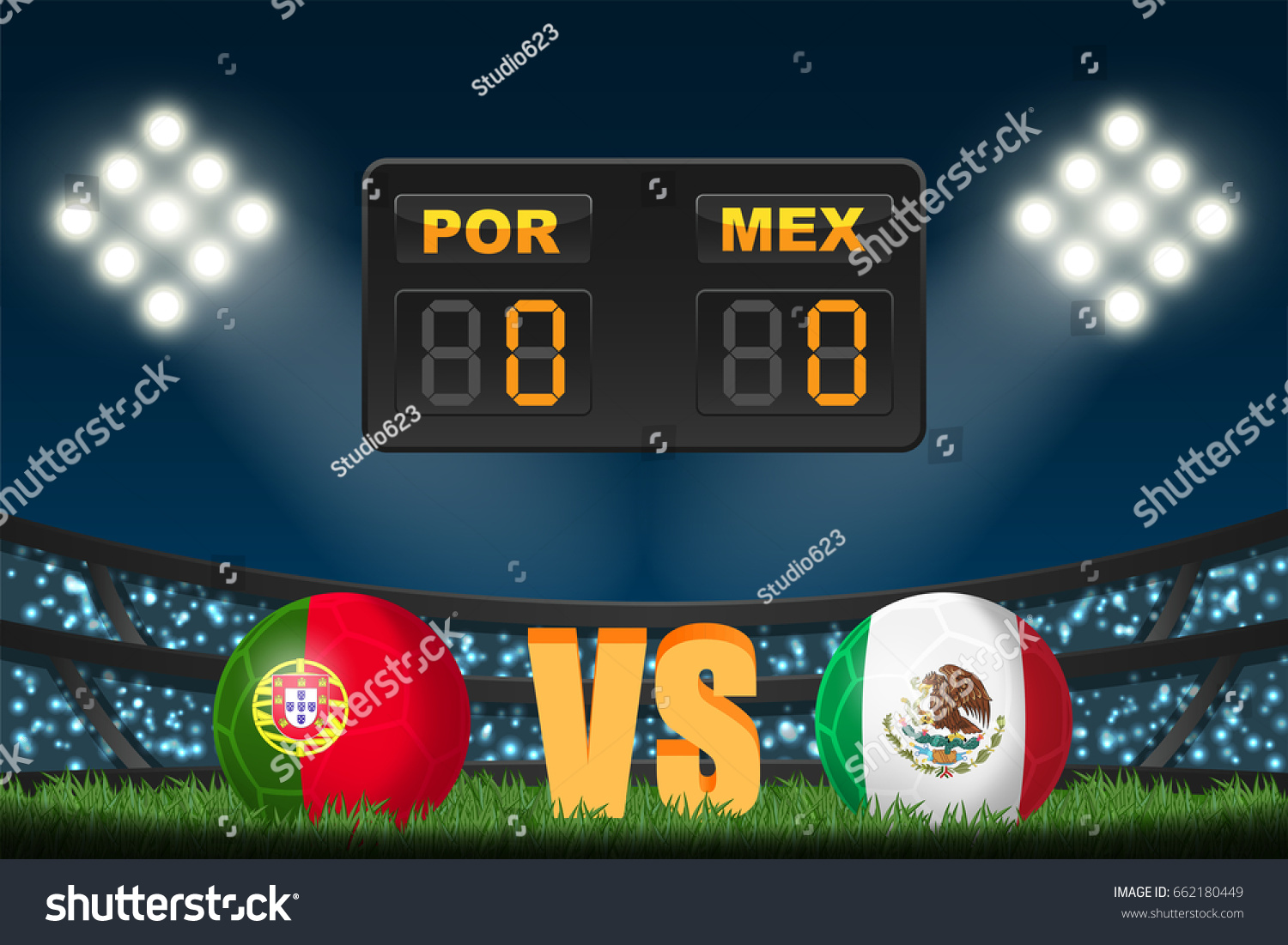 portugal vs mexico soccer ball flag stock vector 662180449
