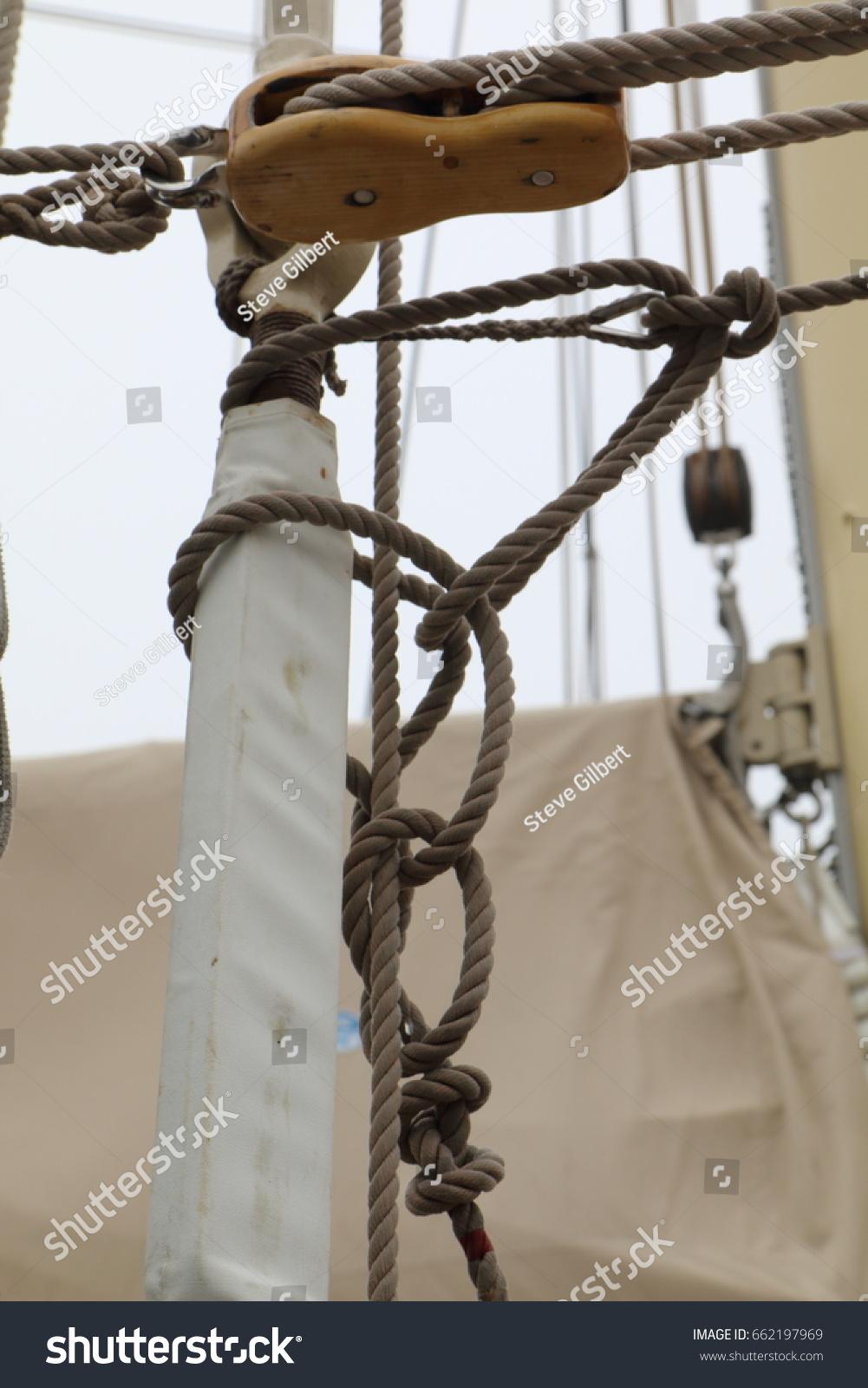 Schooner Sailboat Rigging Closeup Stock Photo Edit Now 662197969 Harness For