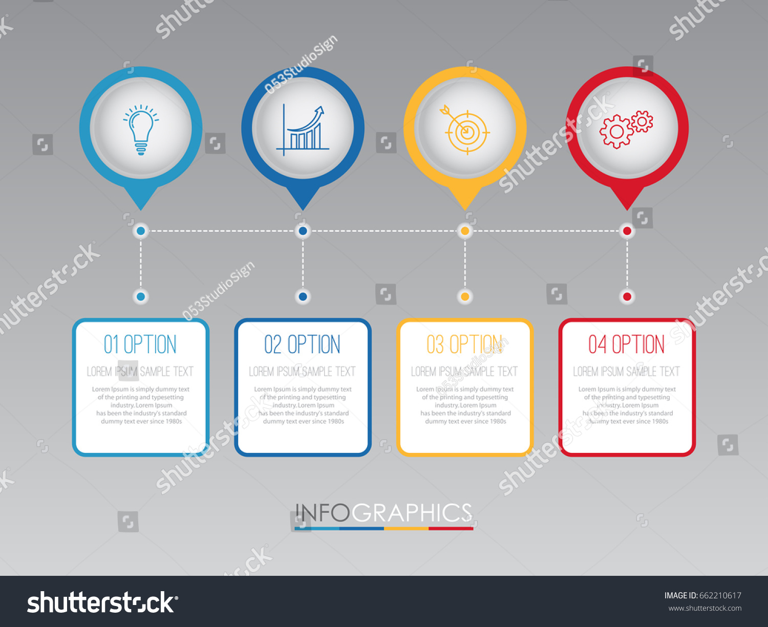 Business Infographic Template Diagram 4 Steps Stock Vector 662210617 ...