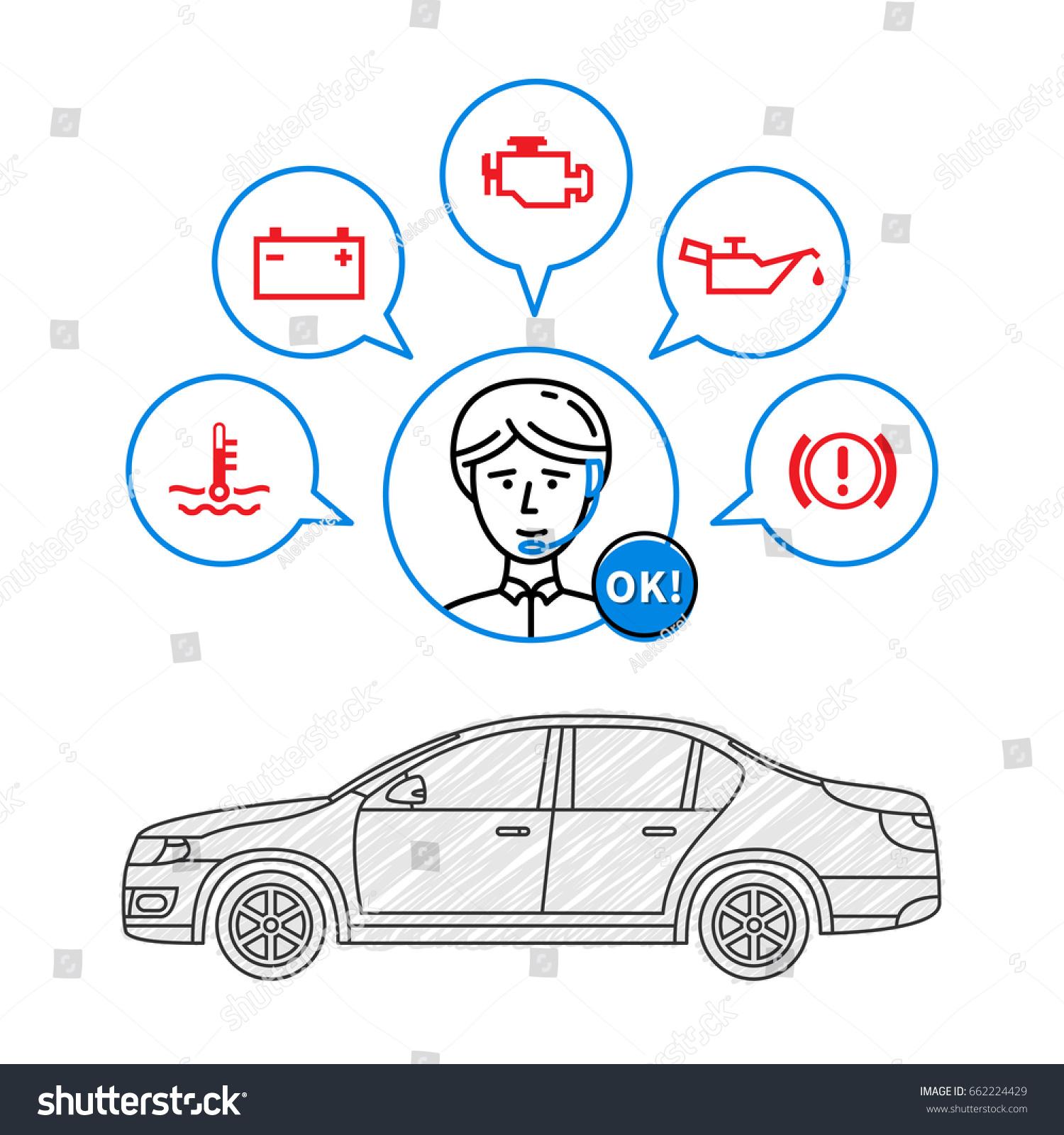 car maintenance manager vector illustration car stock-vektorgrafik