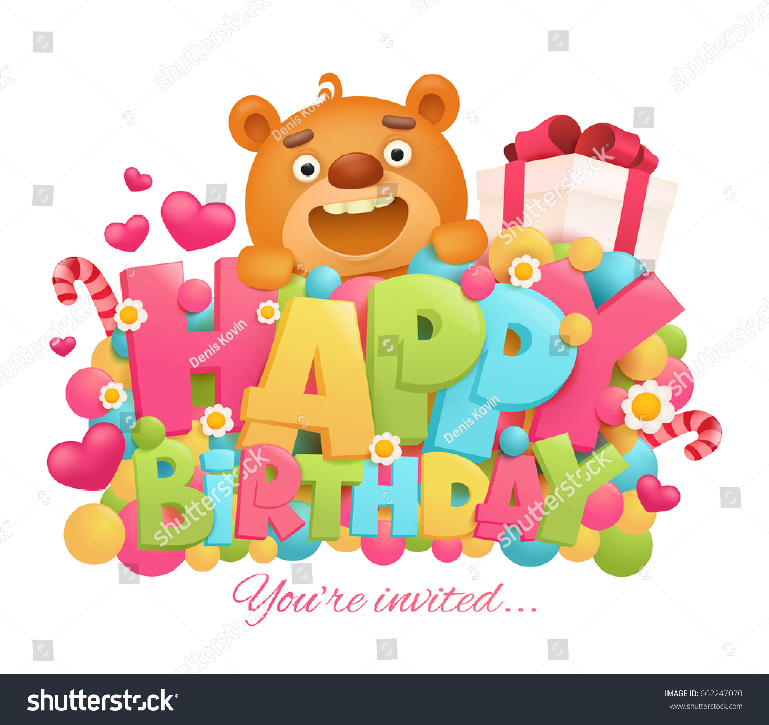 Happy Birthday Greeting Card Cartoon Teddy Stock Vector