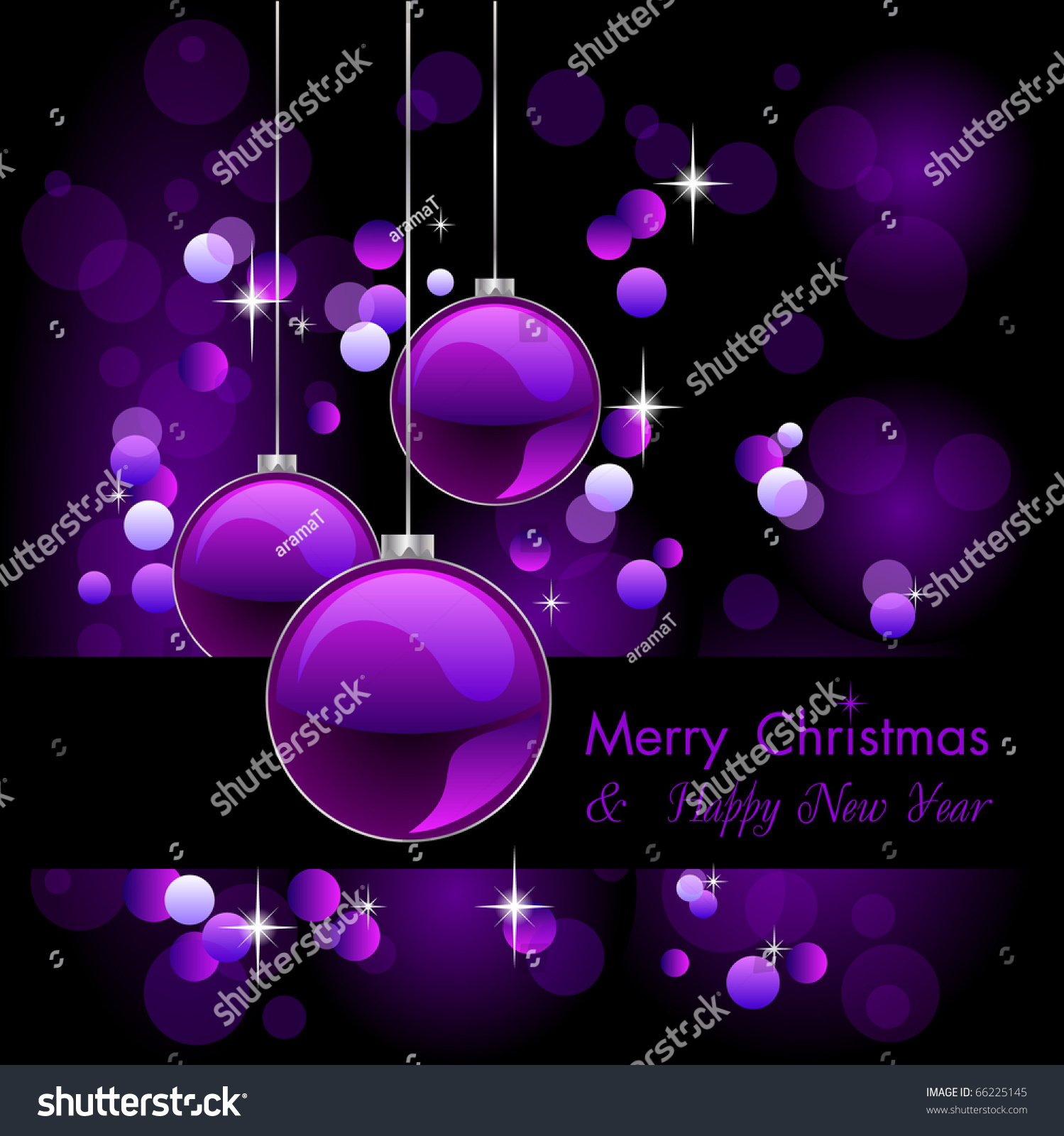 merry christmas elegant purple background baubles stock